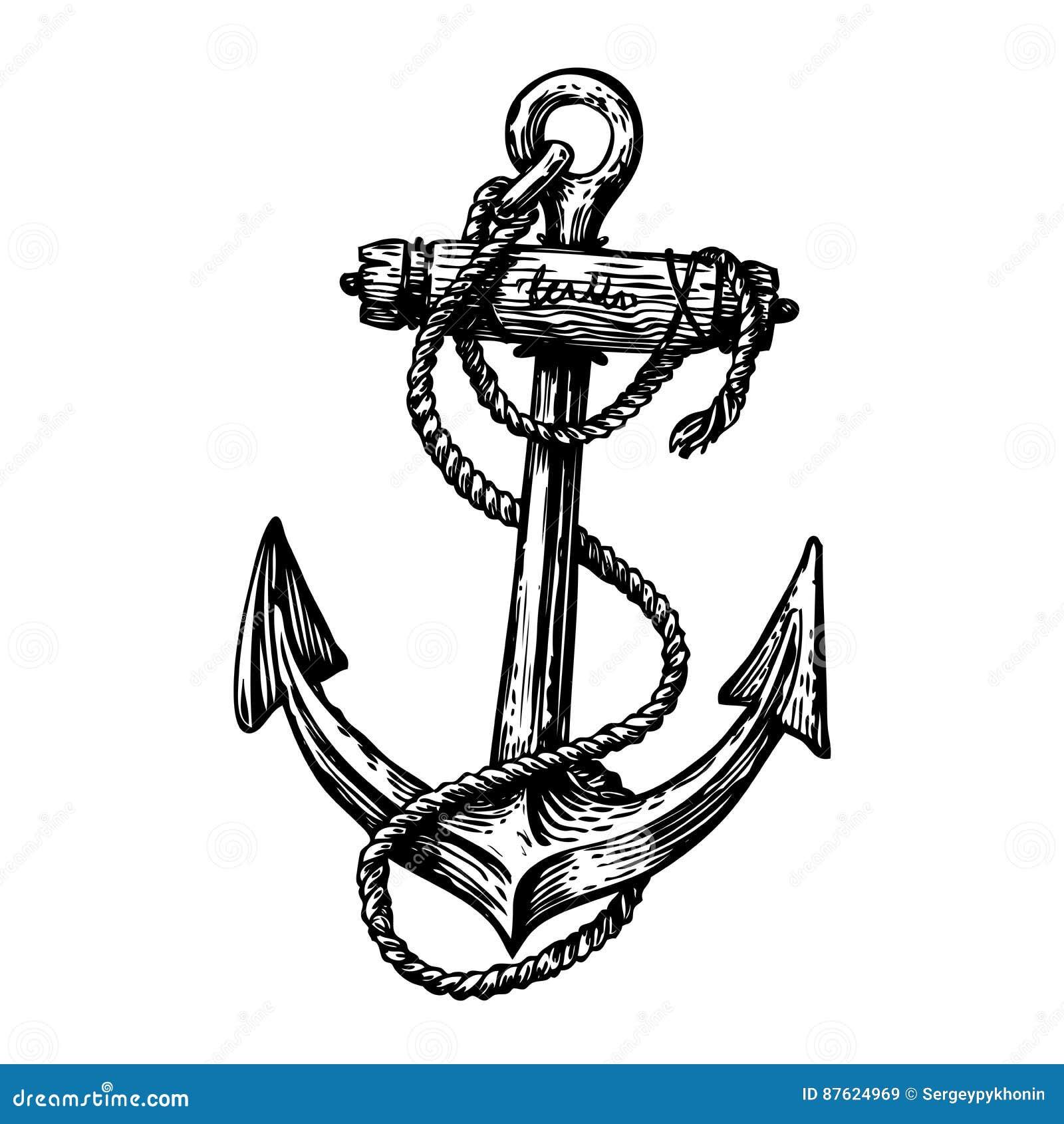 Ancre tir e par la main de vintage avec la corde croquis voyage d couverte symbole de - Ancre de bateau dessin ...