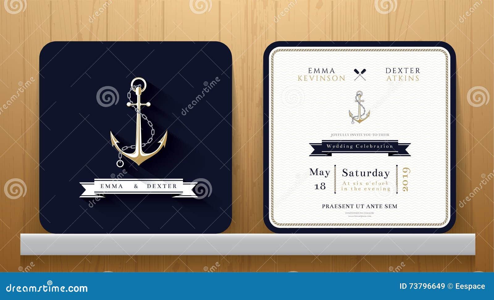 Ancres nautiques de vintage épousant la carte d invitation dans le thème de bleu marine