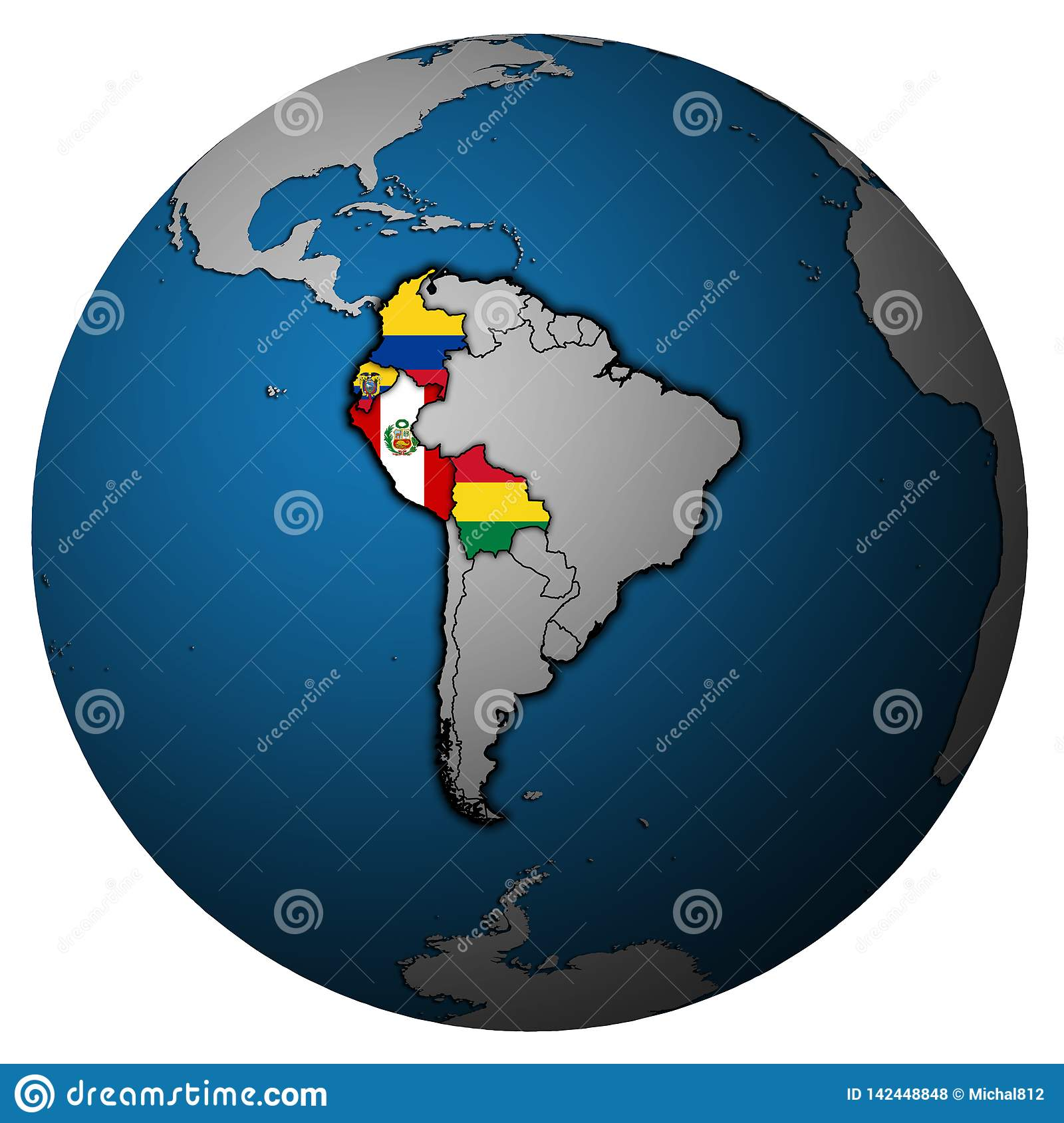 Andean Community On Globe Map Stock Illustration ... on globe map philippines, globe map asia, globe map norway, globe map europe, globe map world, globe map states, globe map austria, globe map italy, globe map finland, globe map india, globe map art, globe map africa,