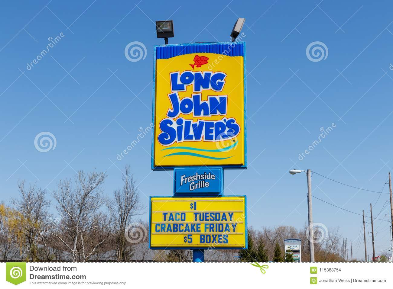 Anderson - Circa April 2018: Long John Silver`s fast food location. Long John Silver`s specializes in fried fish meals II