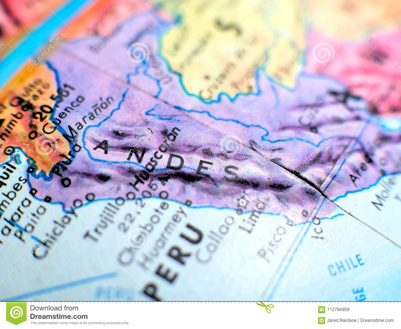 Andes Mountains Focus Macro Shot On Globe Map For Travel Blogs ...