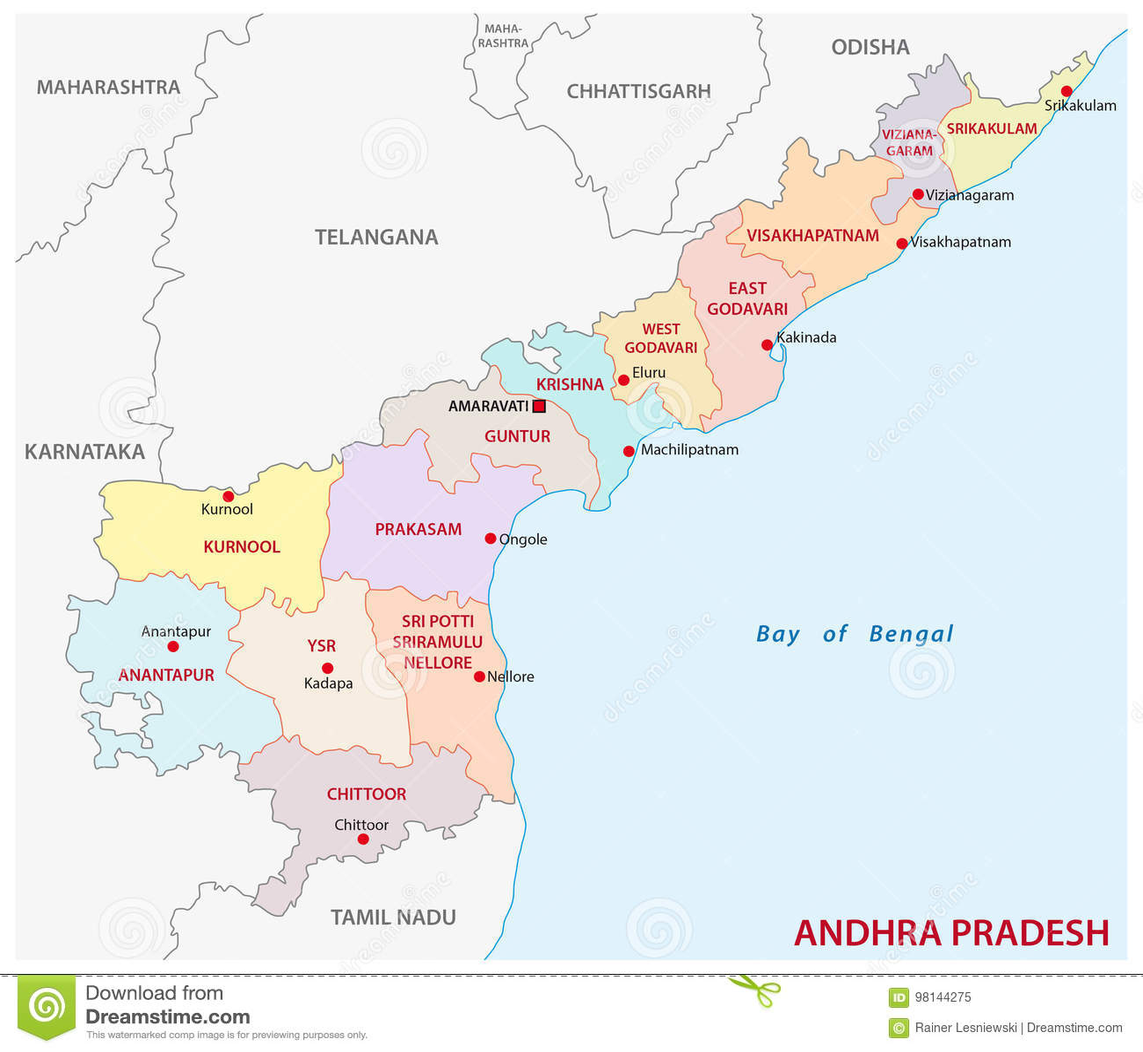 Andhra Pradesh Administrative And Political Map, India Stock Vector ...