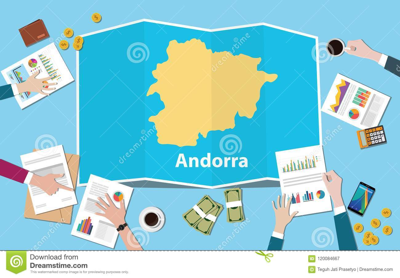 Andorra economy country growth nation team discuss with fold maps view from top