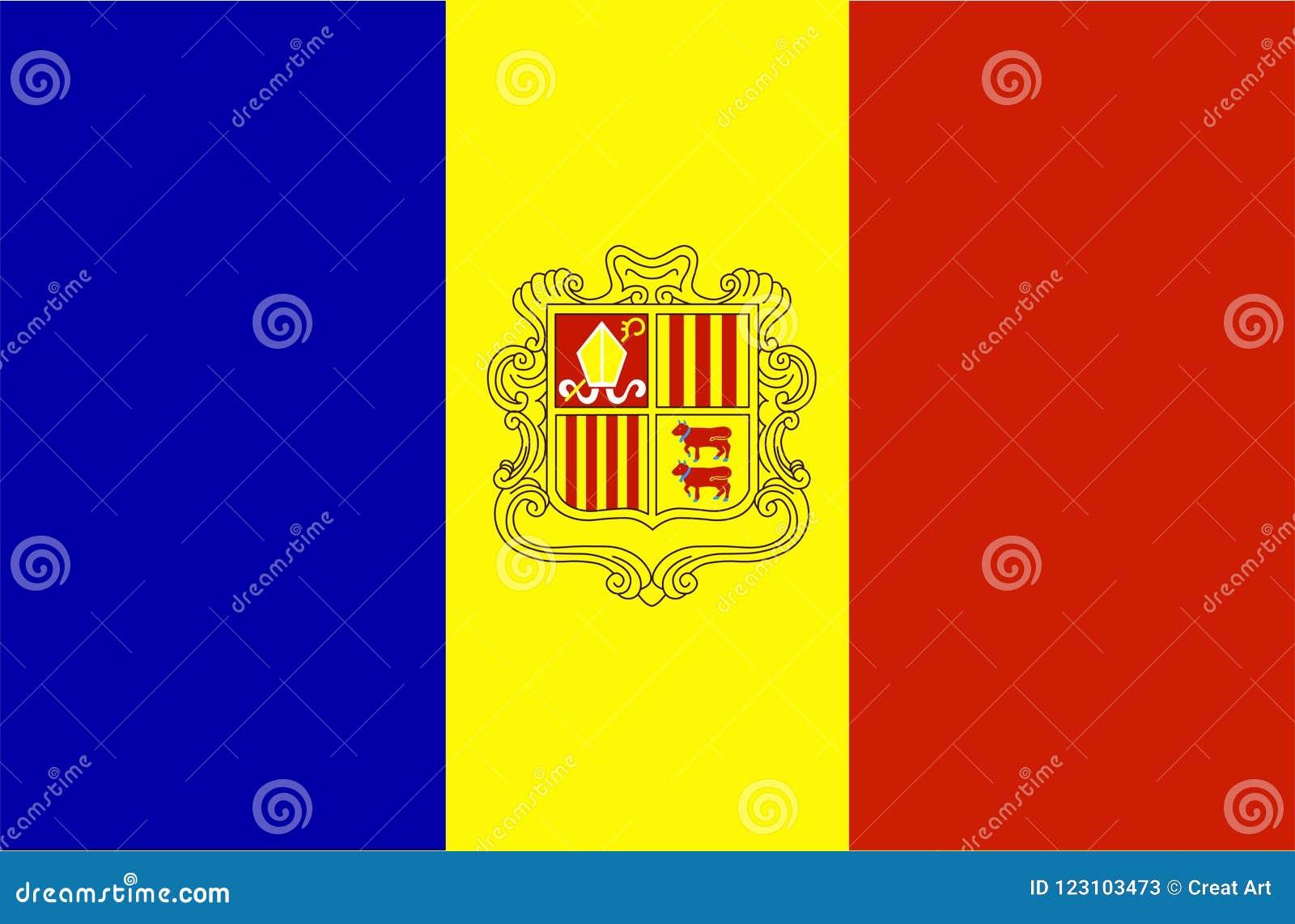 Andorra flag vector.Illustration of Andorra national flag
