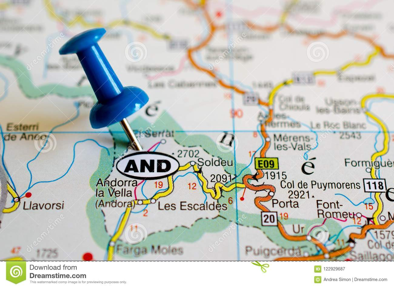 Andorra On Map Stock Image Image Of Page Highway Travel 122929687