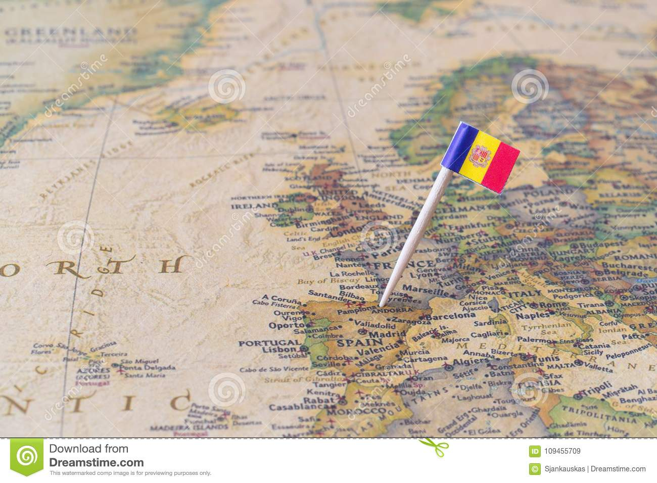 Andorra Map And Flag Pin Stock Image Image Of Capital 109455709