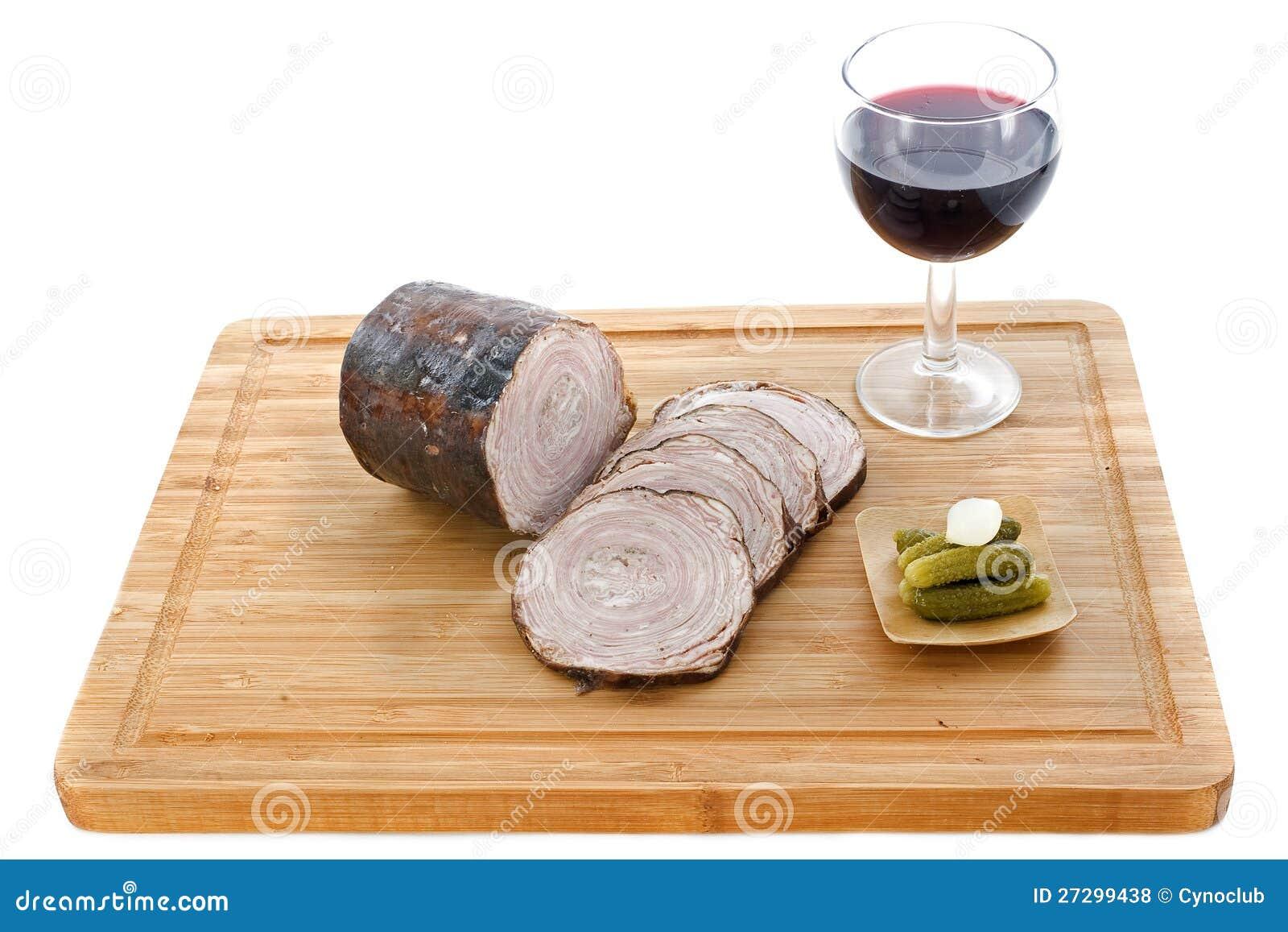 Andouille czerwone wino kiełbasa i