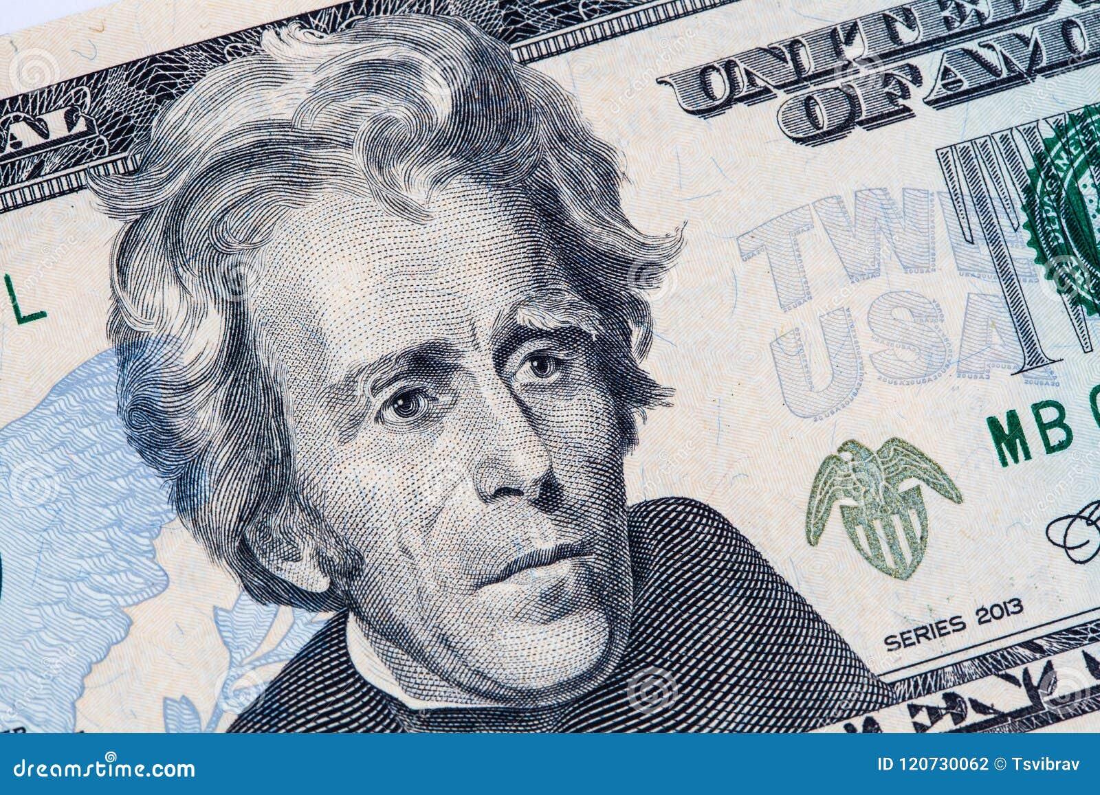 Andrew Jackson-portret binnen op 20 Amerikaanse dollarrekening