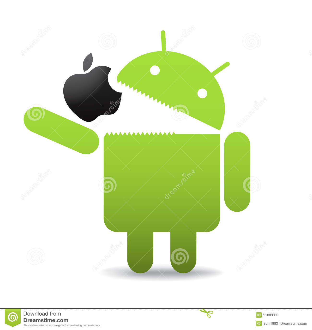 Green android caricature eating an apple. Android OS logo,vector ...