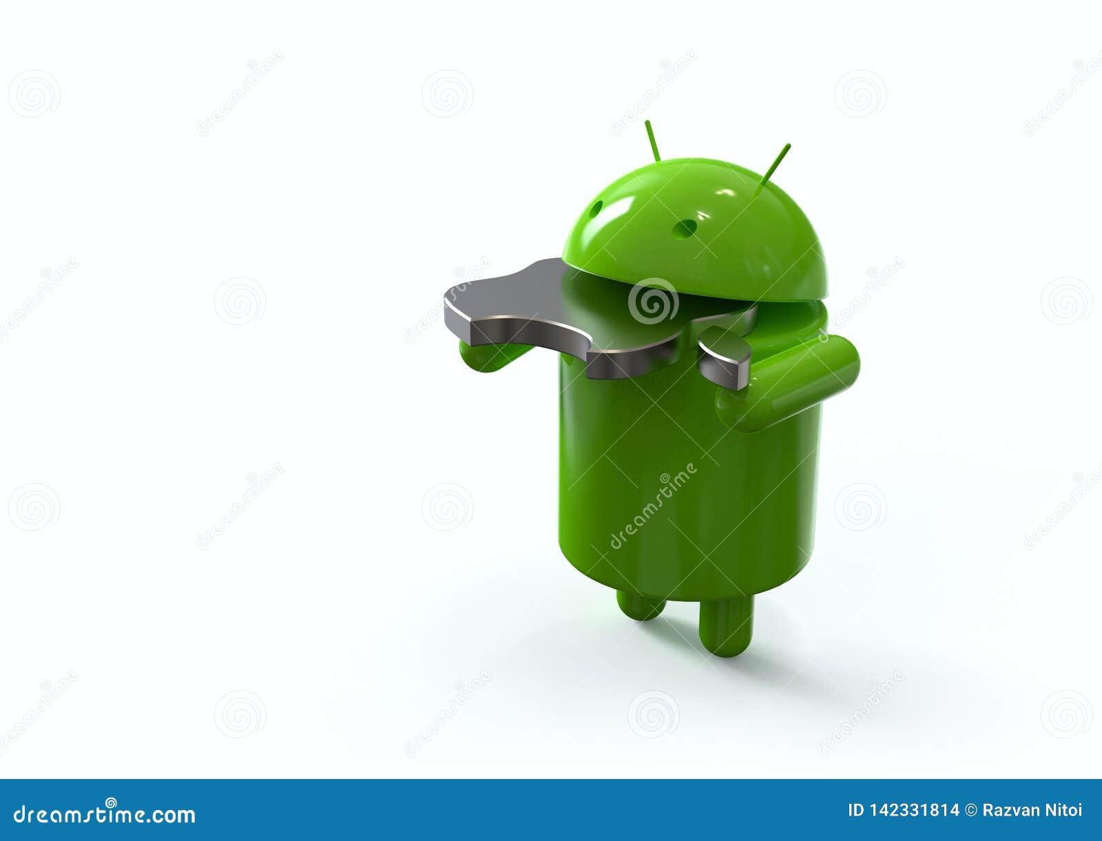 Android contra el símbolo de la competencia de Apple, caracteres del logotipo