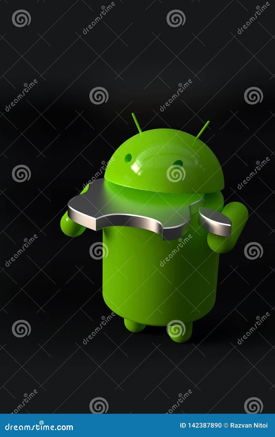 Android contra el símbolo de la competencia del IOS de Apple - caracteres del logotipo