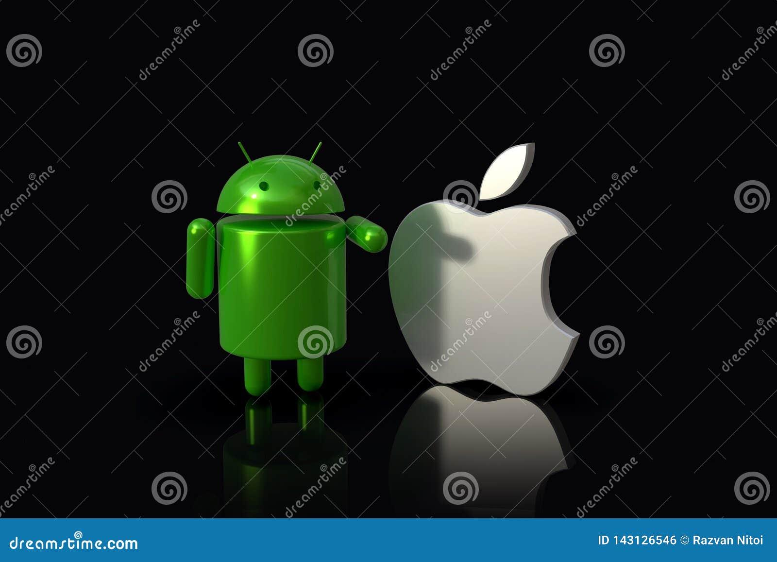 Android contra IOS de Apple - caracteres del logotipo 3D, de lado a lado