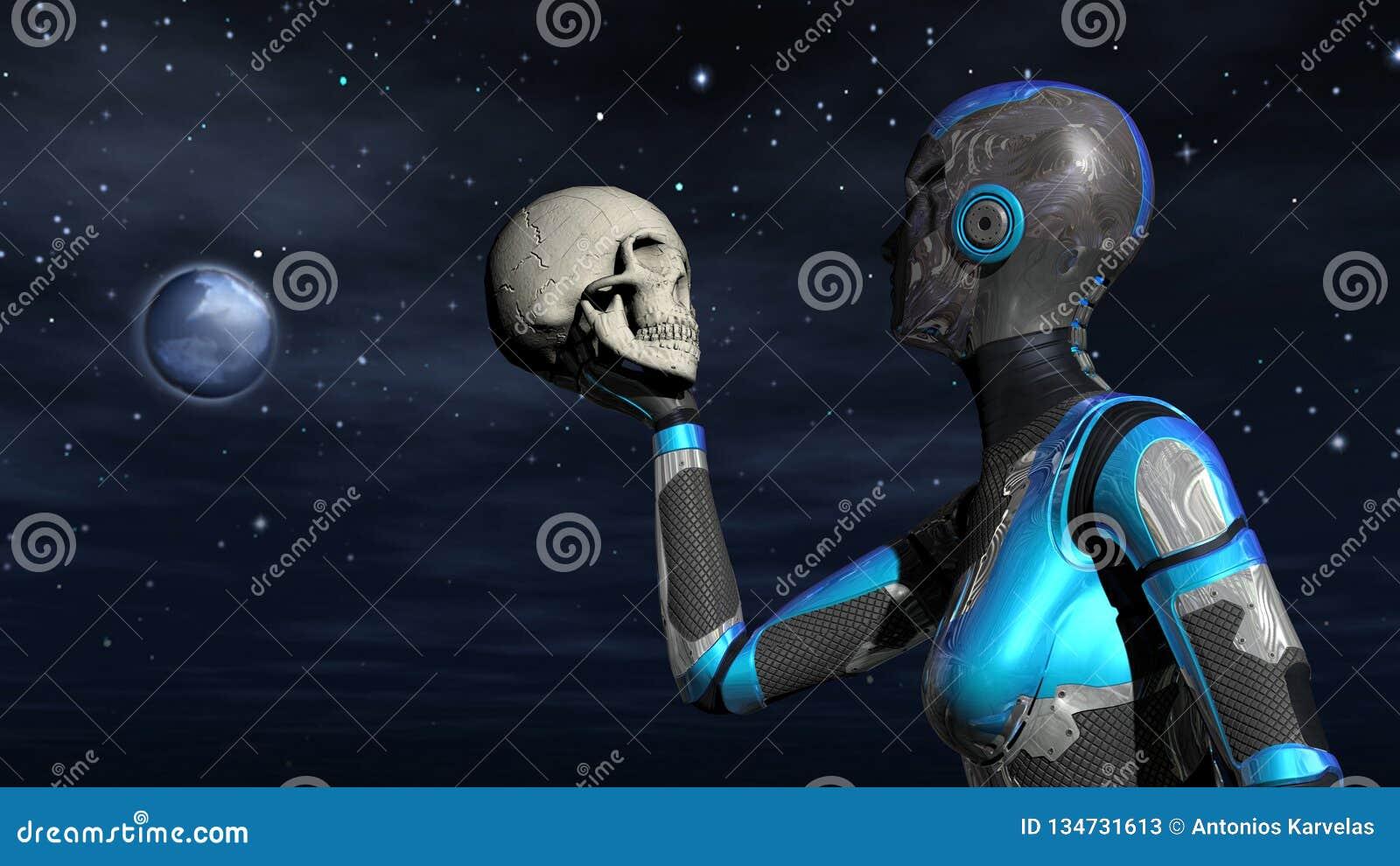 Android femelle futuriste dans l espace tenant le crâne humain