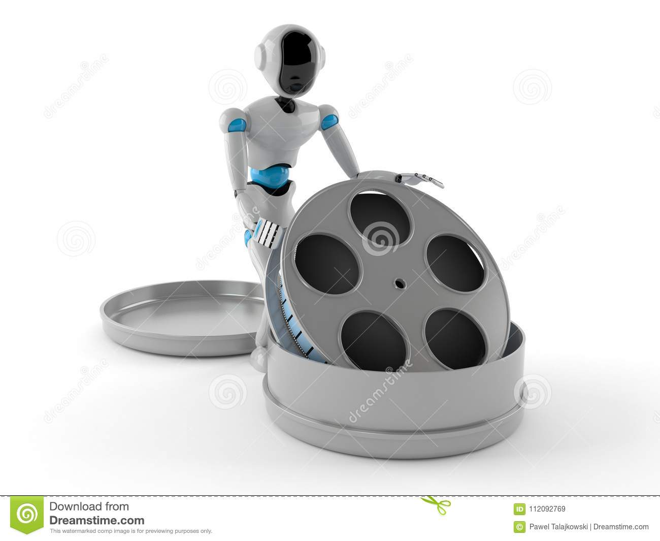 Android with film reel