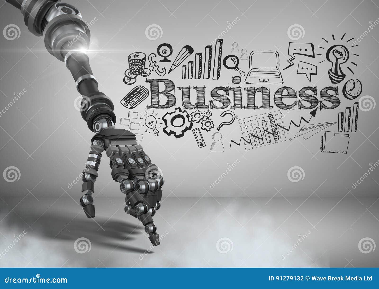 Android handpeka och affärsman med affärsdiagramteckningar