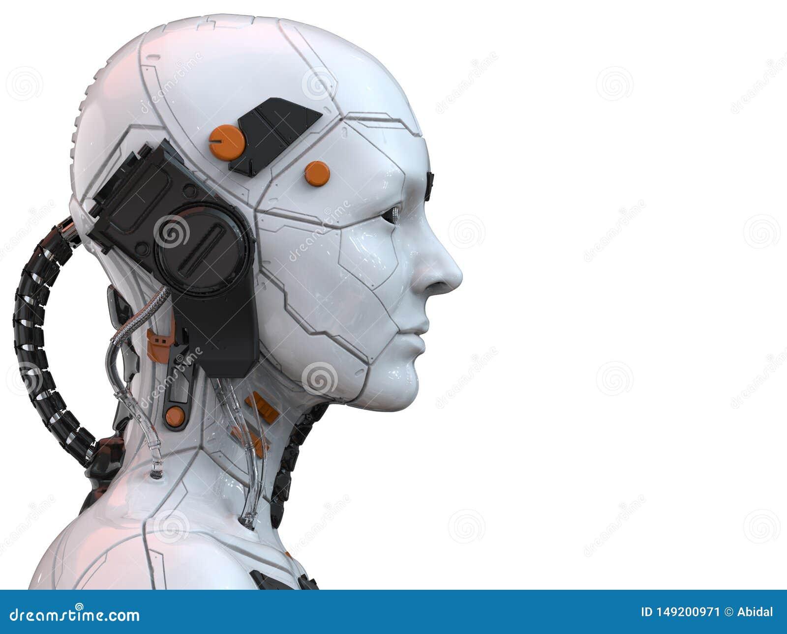 Android-humanoid zijaanzicht van de robot cyborg vrouw - het 3d teruggeven