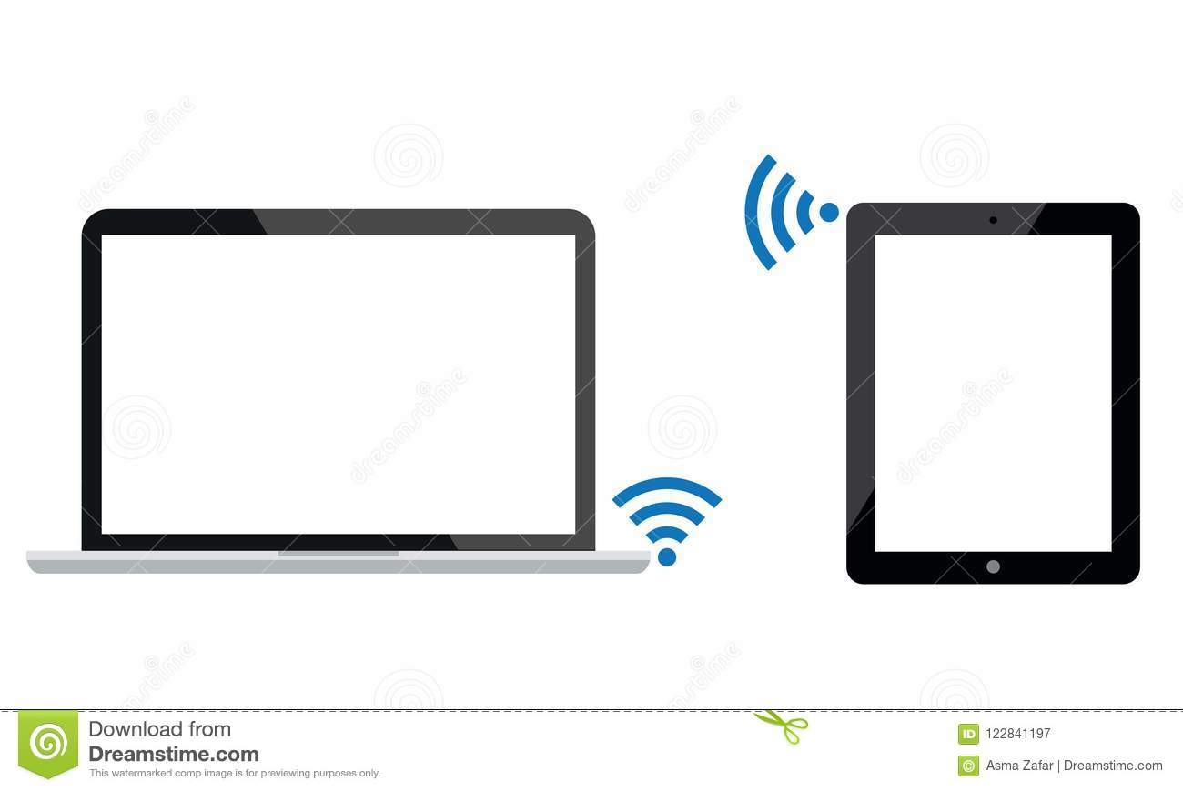 Android Ipad Tablet Is Connected With Laptop By Wi-Fi