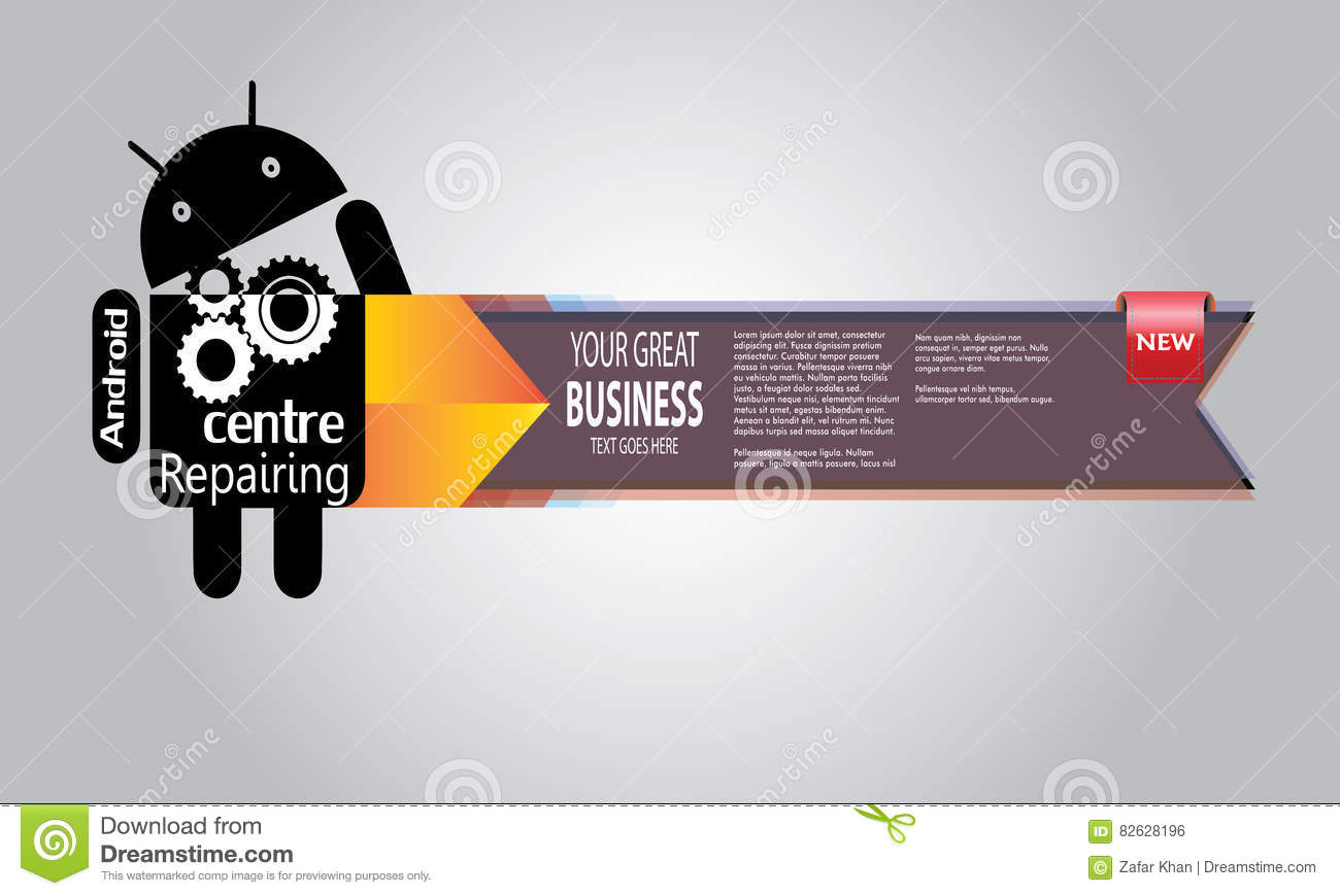 Android Repairing Banner New Editorial Photo - Illustration of