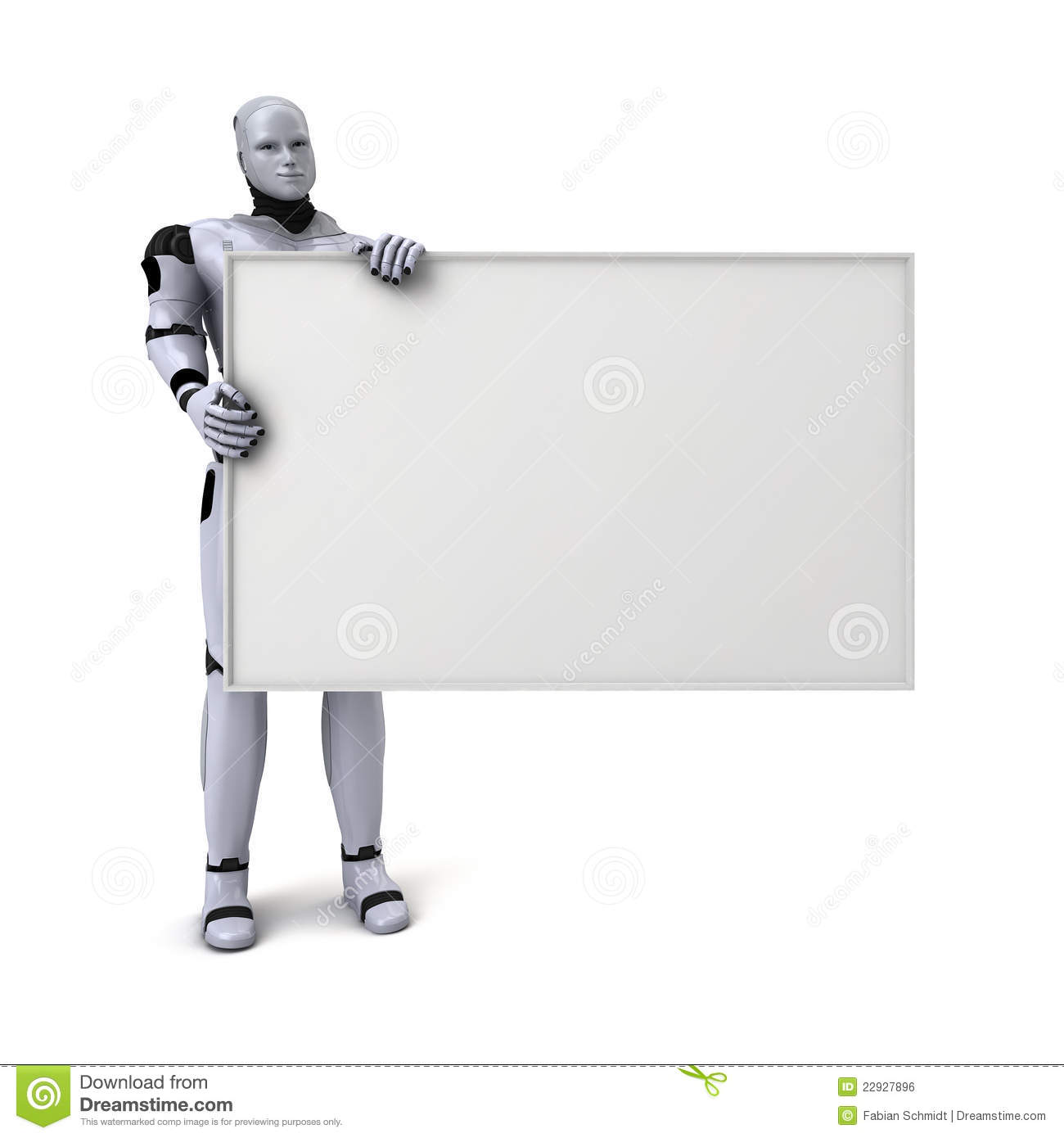 android robot holding blank sign royalty free stock image