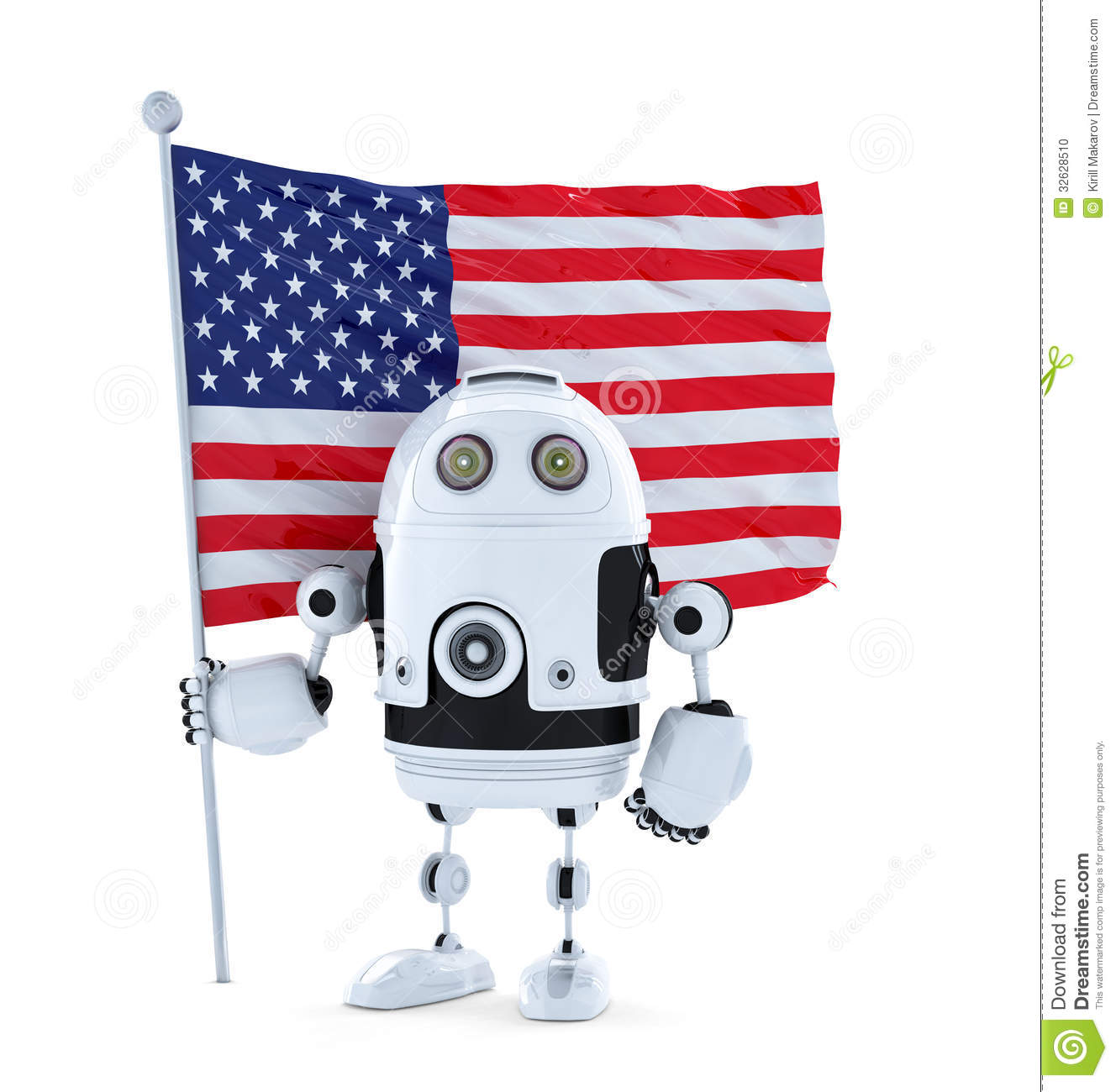 Android Robot With Standing American Flag Stock Photo ...