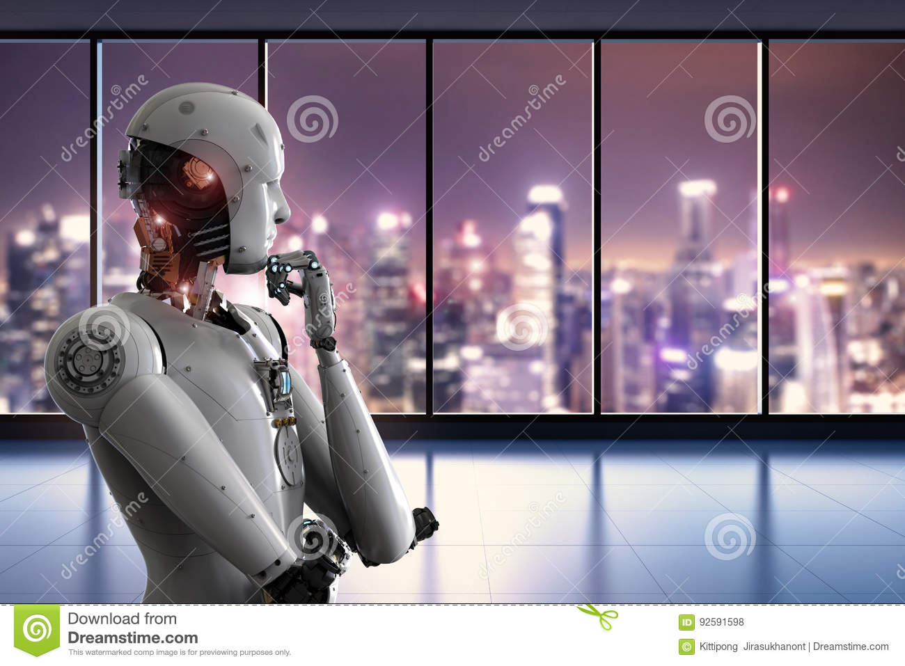 Android robot thinking in office