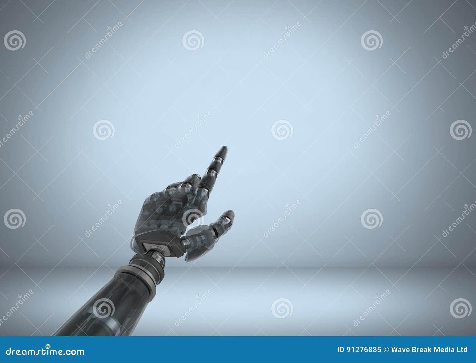 Android robothand som pekar med blå bakgrund