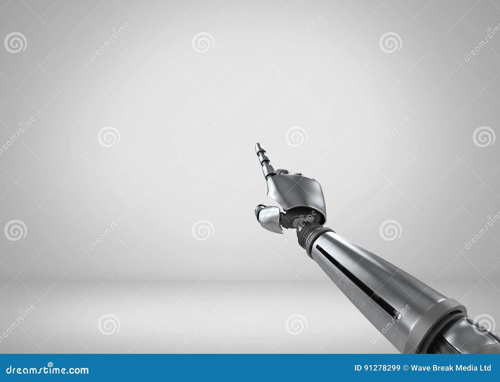 Android robothand som pekar med grå bakgrund
