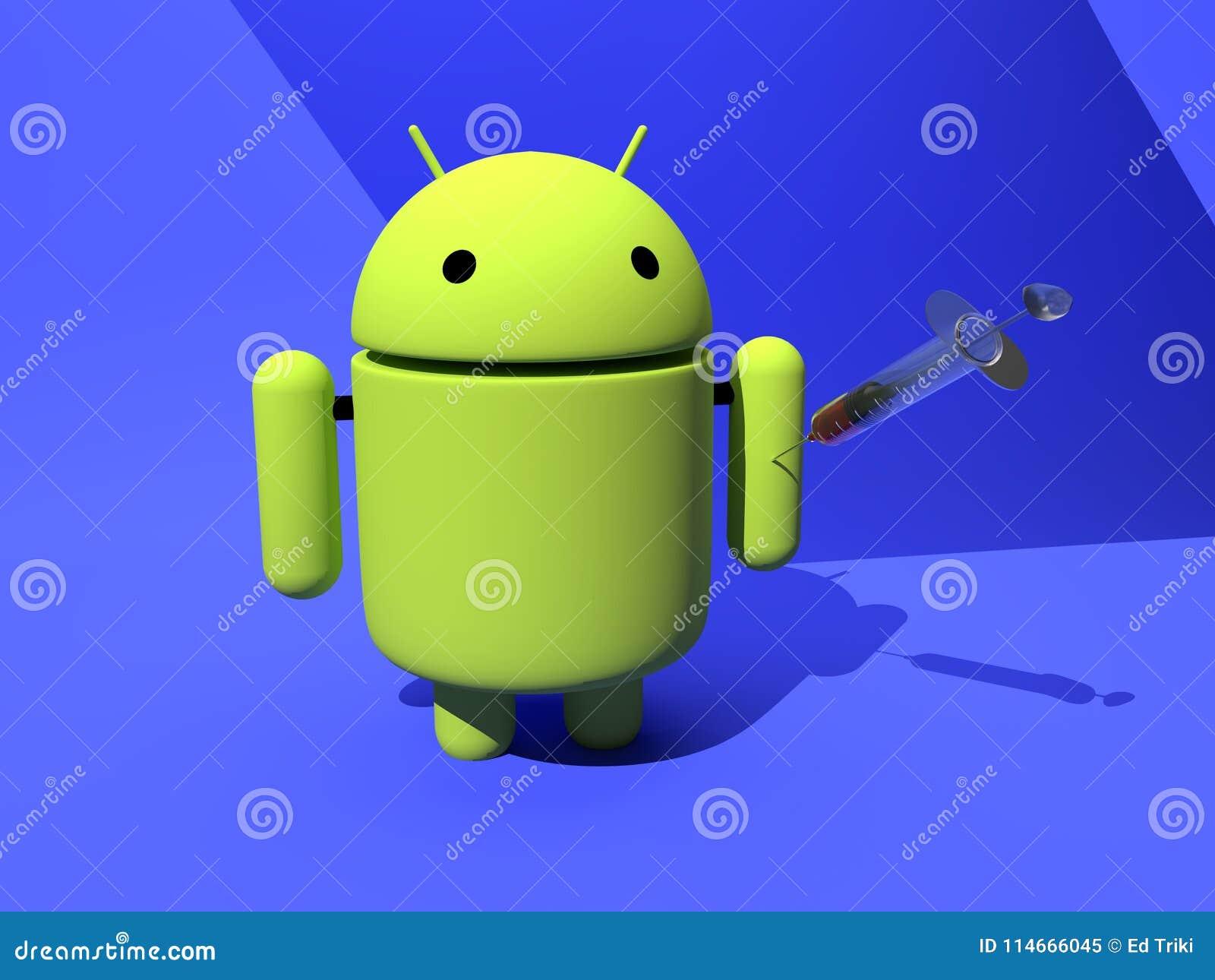 Android-vaccinbescherming tegen malware, virus - 3D illustratie