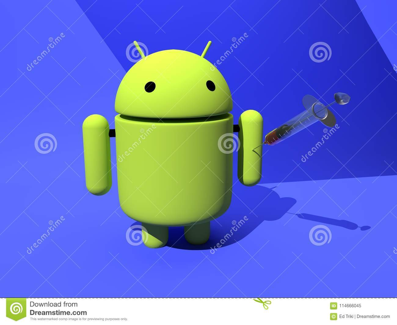Android vaccine protection against malware, virus - 3D illustration