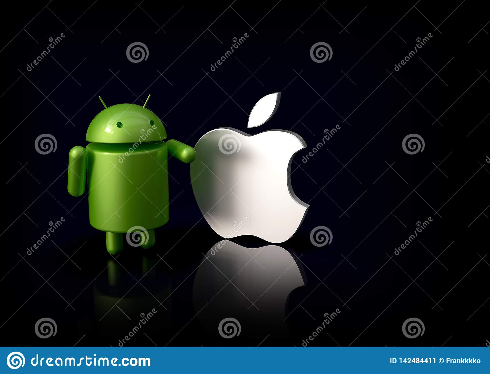 Android Vs Apple IOS Compared - Logo Characters Editorial