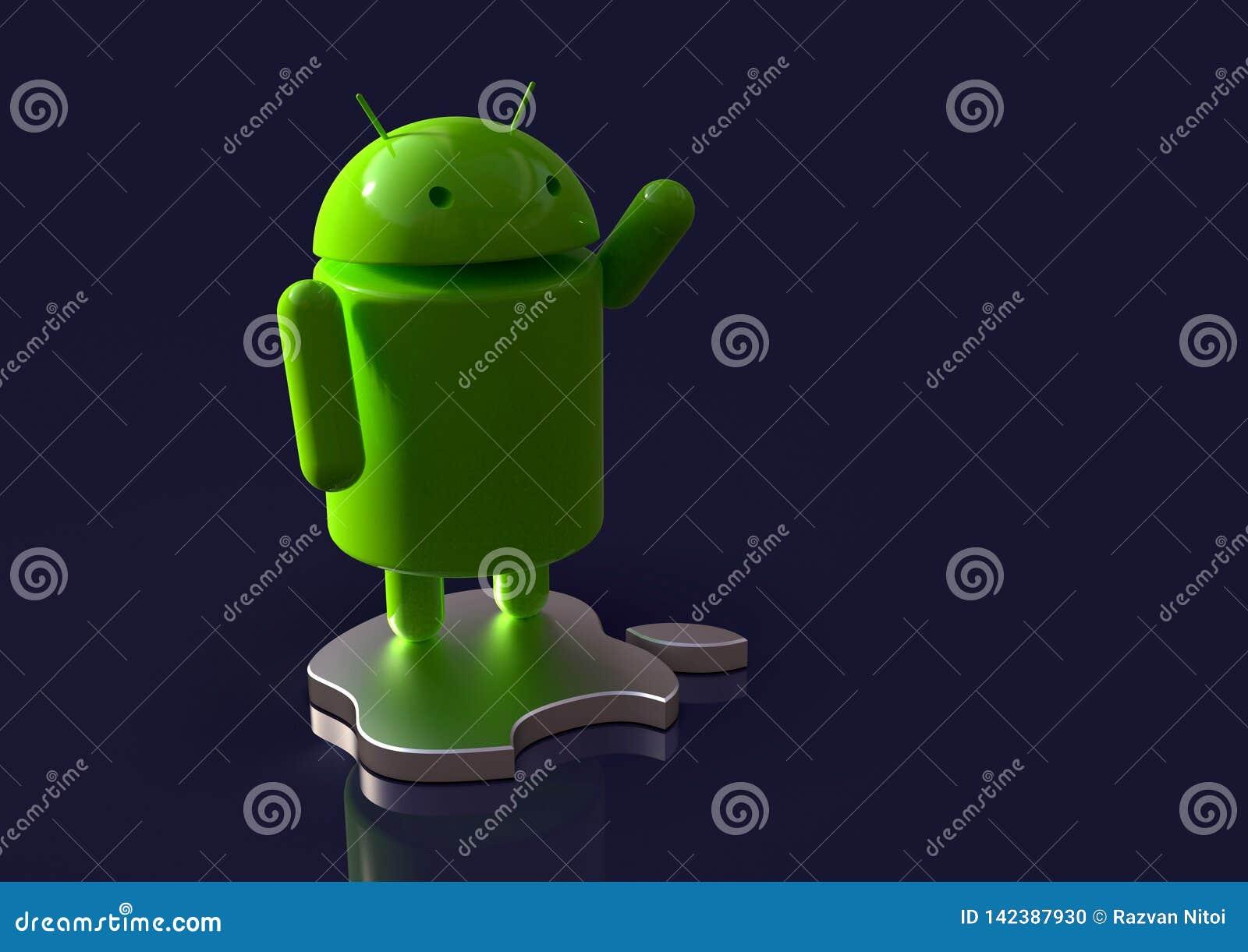 Android vs symbolet för Apple iOS-konkurrens - logotecken