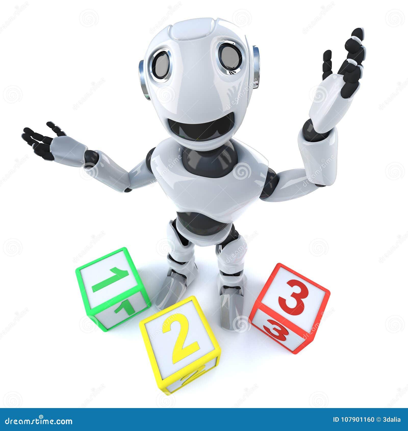 Androide divertido del robot de la historieta 3d usando la cuenta de bloques