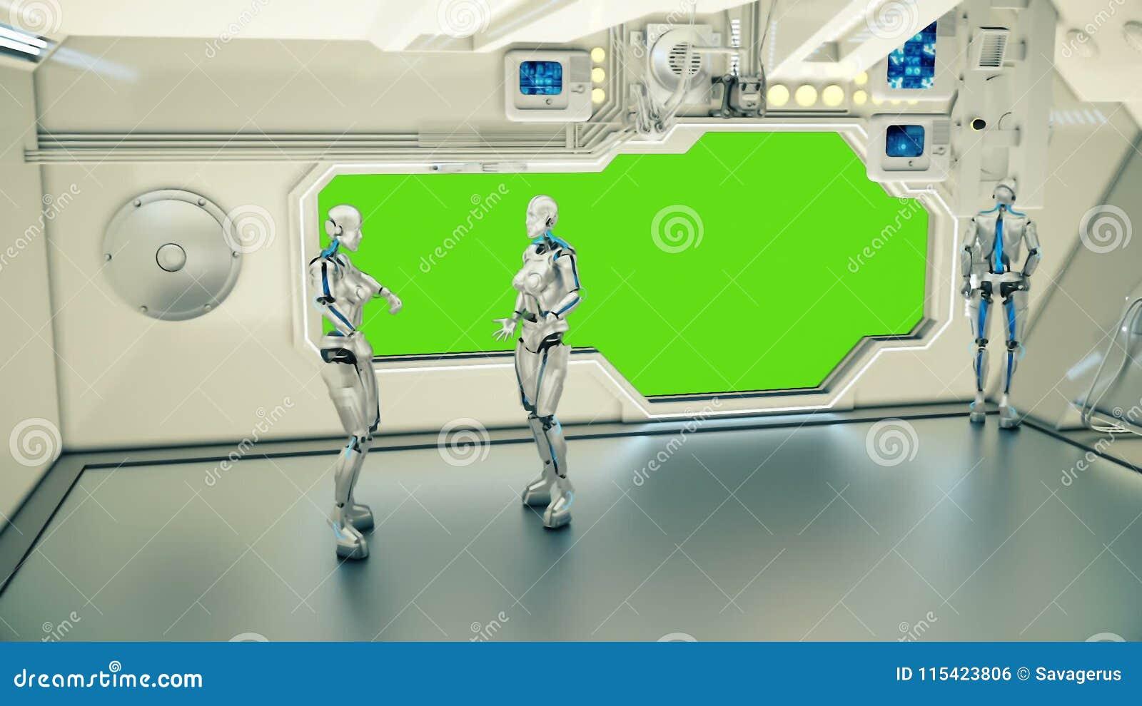 Androidi su un astronave che discute sul pianeta Terra del fondo Un concetto futuristico di un UFO
