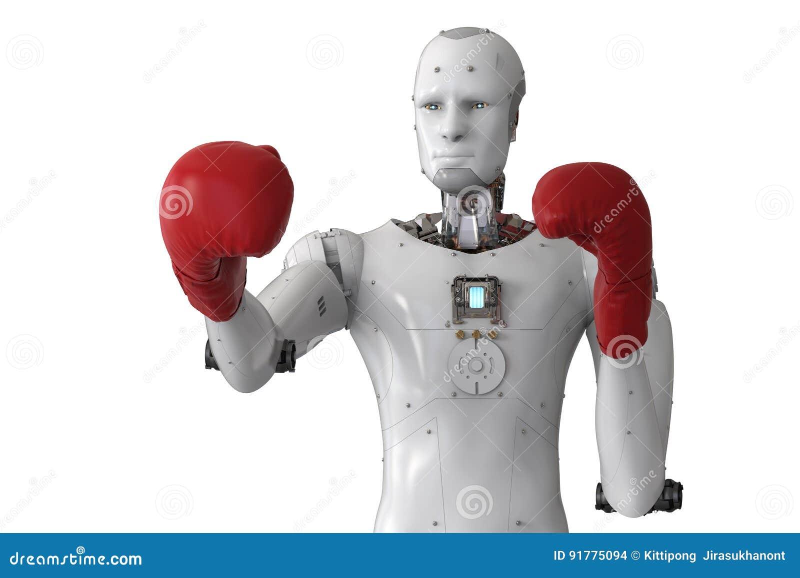 Androidu robot jest ubranym czerwone bokserskie rękawiczki