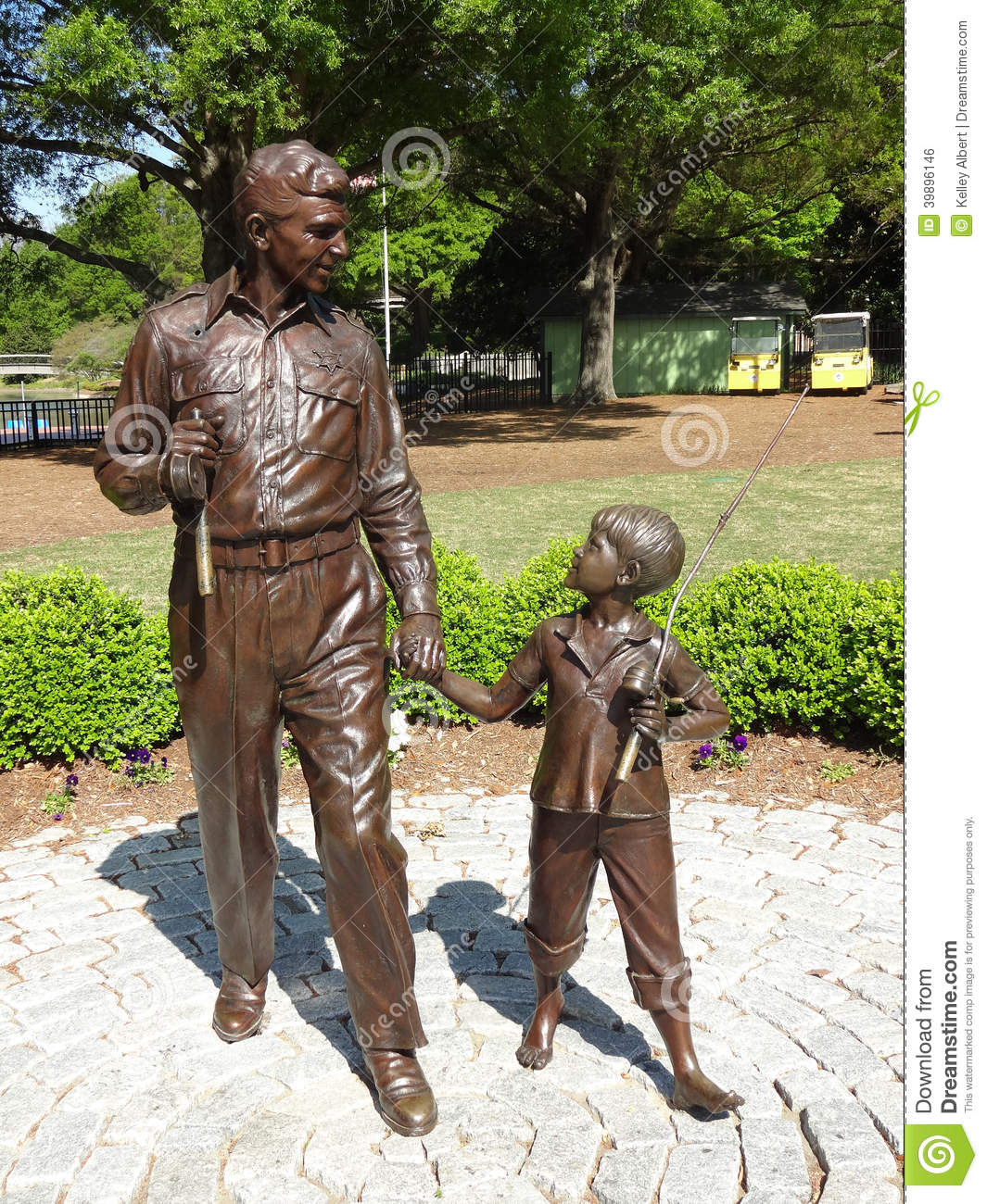Andy Griffith and Opie Sculpture at Pullen Park in Raleigh, North Carolina
