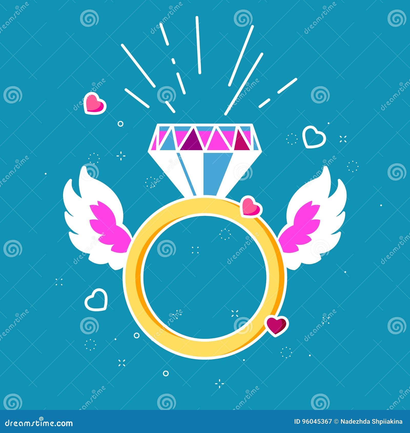 Anel Com Diamante Corações E Asas Conceito Do Amor