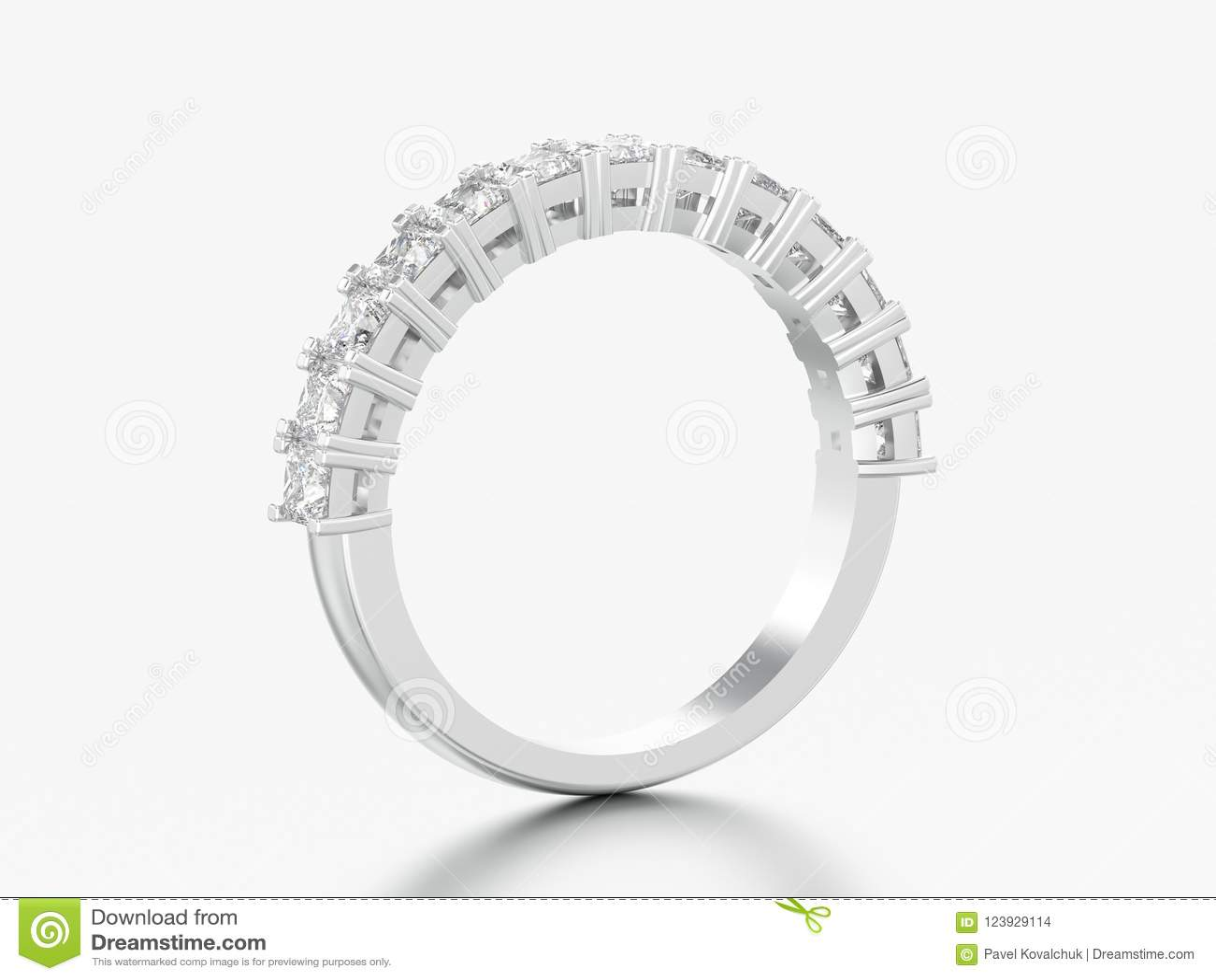 Anel de diamante da faixa da eternidade do ouro branco ou da prata da  ilustração 3D b15f558e1f