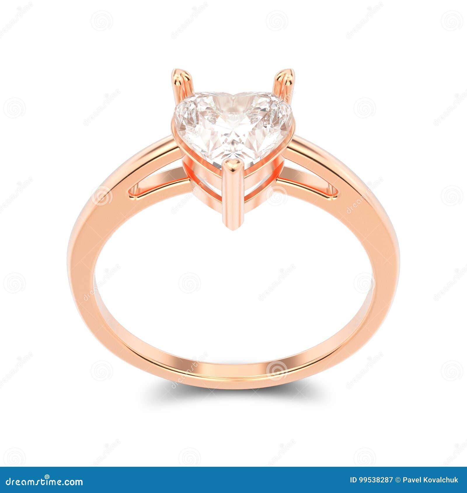 Anel de noivado cor-de-rosa isolado ilustração do ouro 3D com diamante a4e4689117