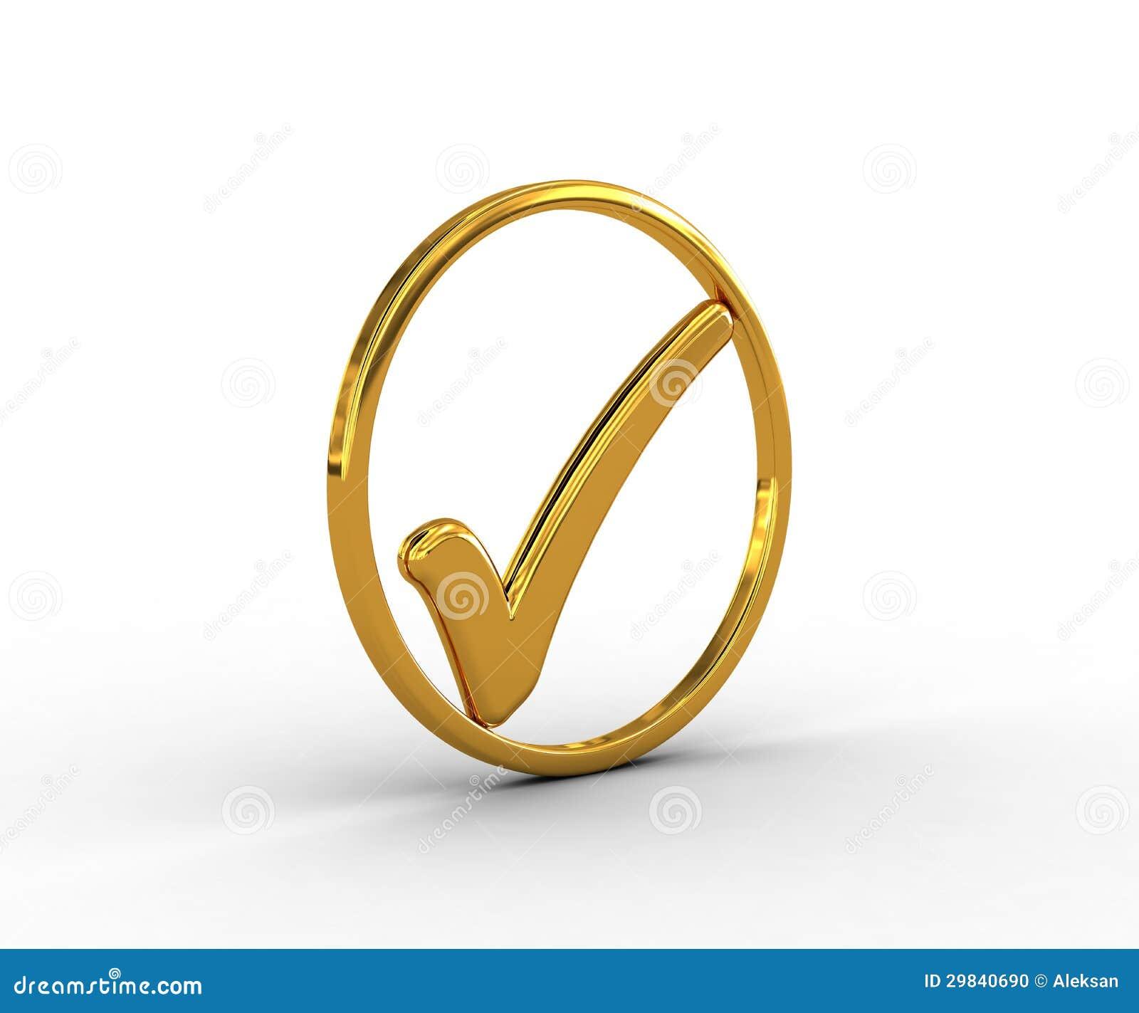 Anel dourado com marca de verificação