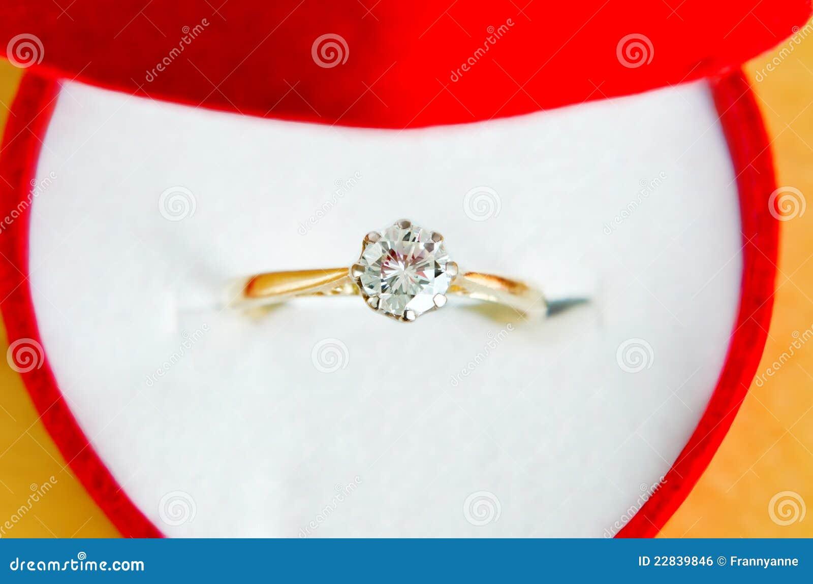 Anello di diamante del Solitaire in casella