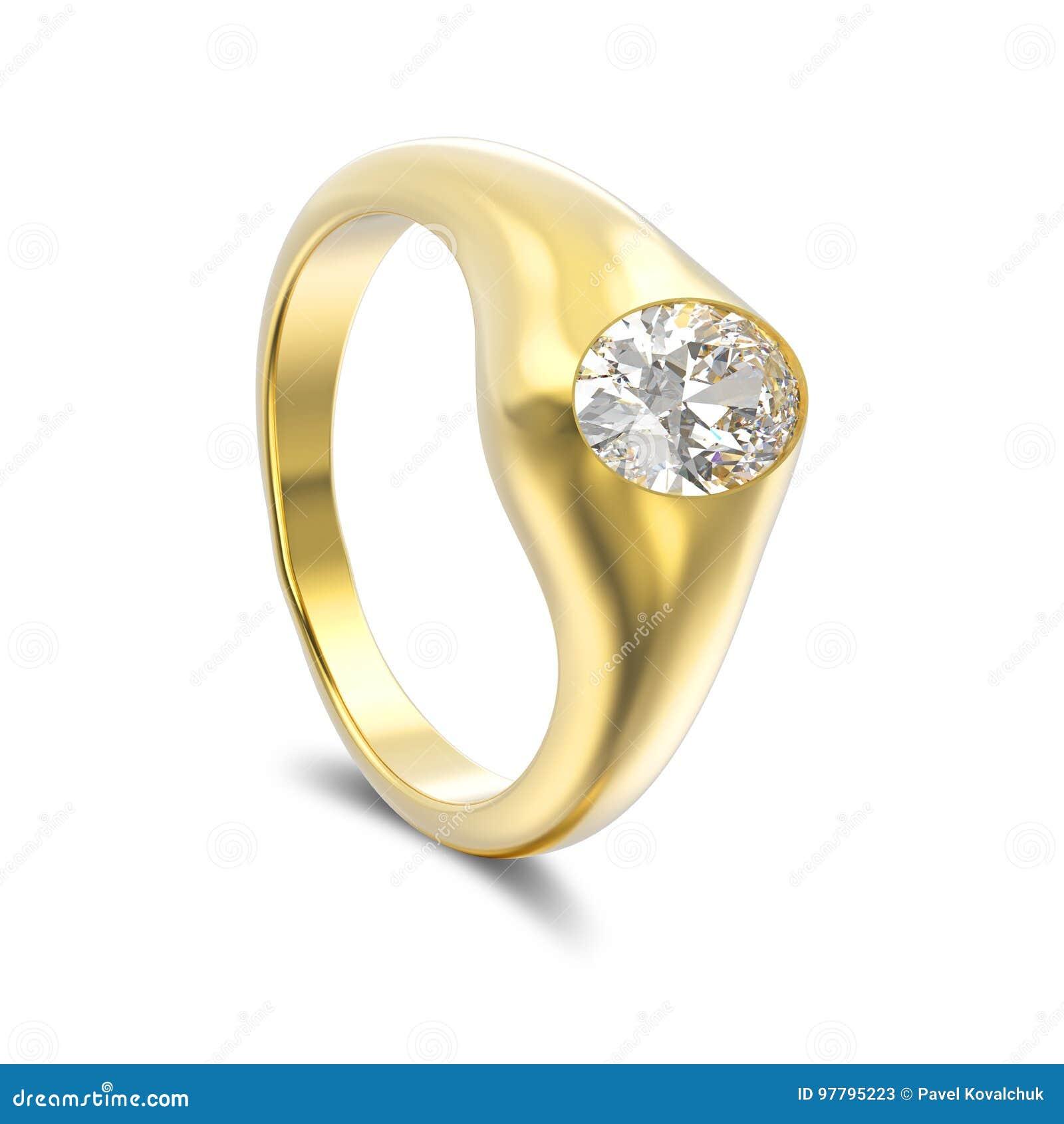 Anello di diamante dell oro giallo dell illustrazione 3D con ombra