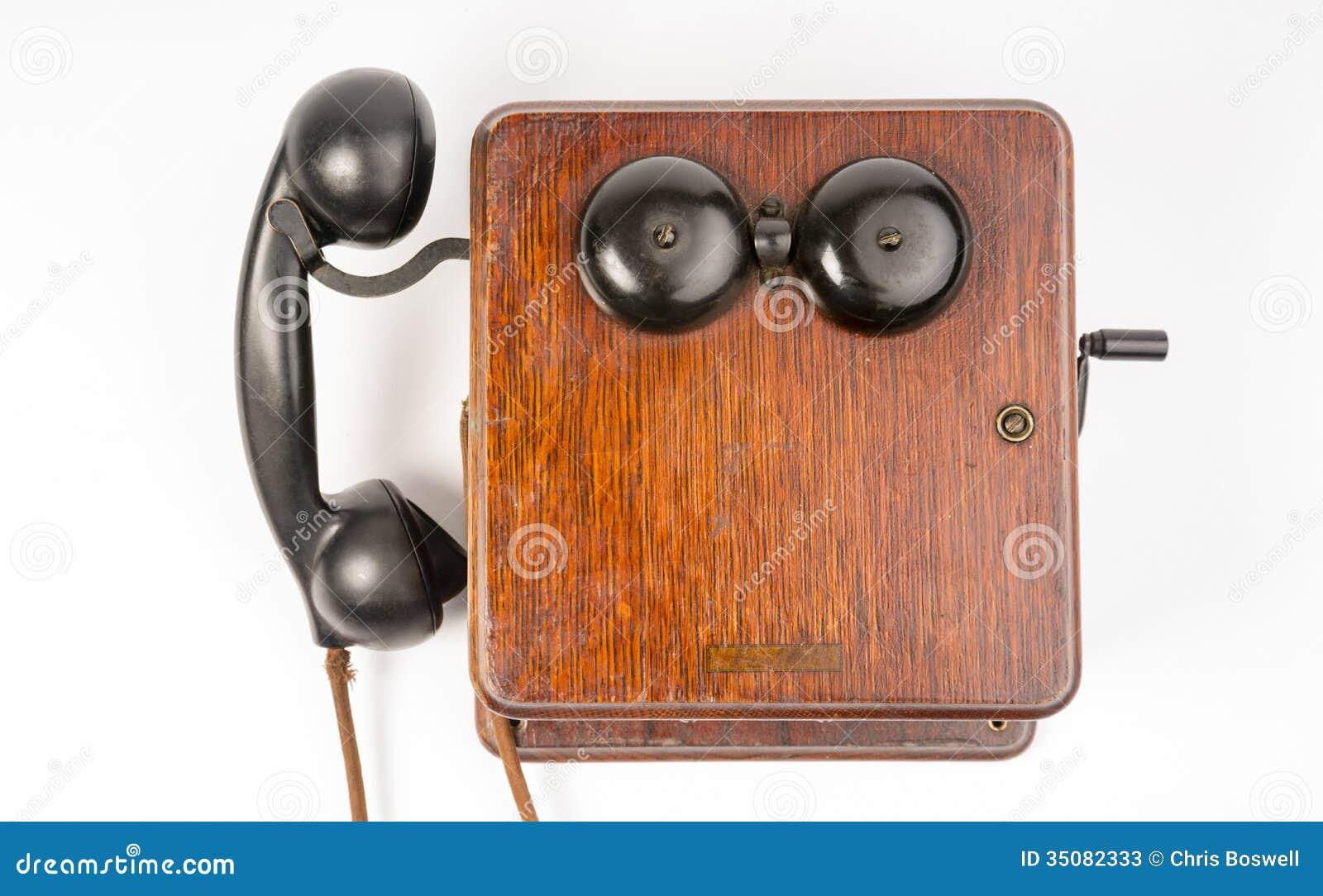 Anello obsoleto d annata di Wallbox del microtelefono della bachelite dell apparecchio telefonico della quercia