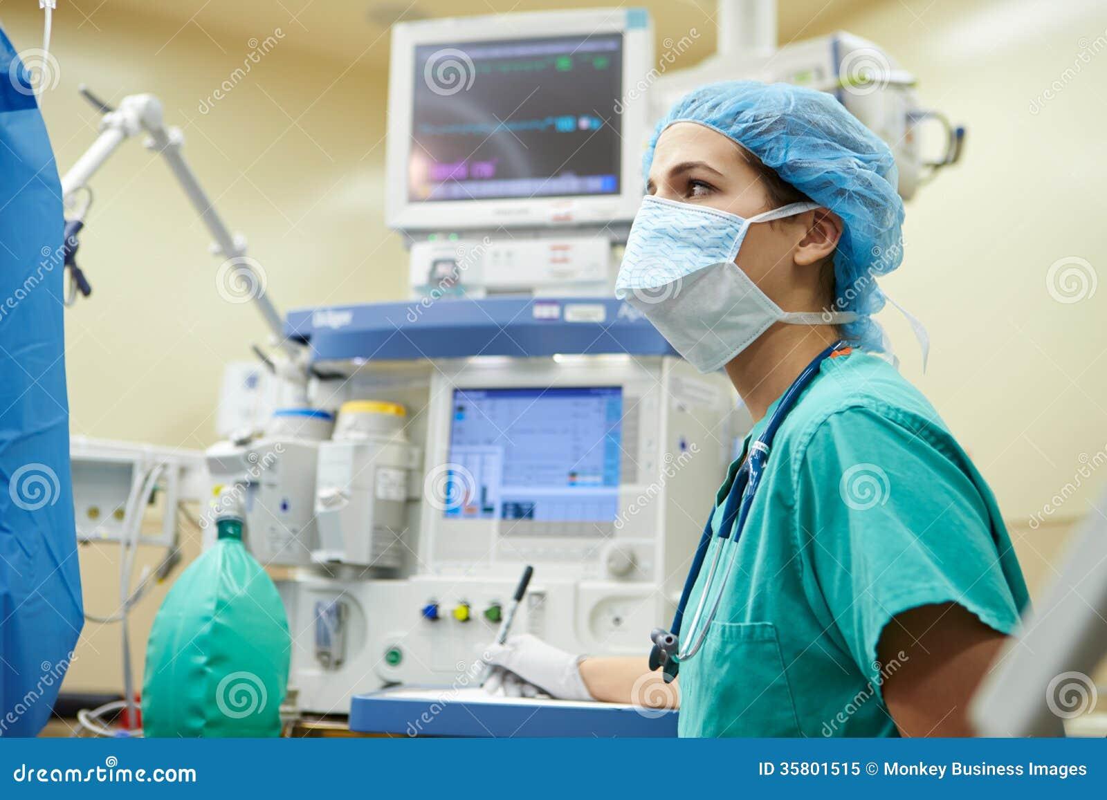 Anesthetist die in Werkend Theater werken