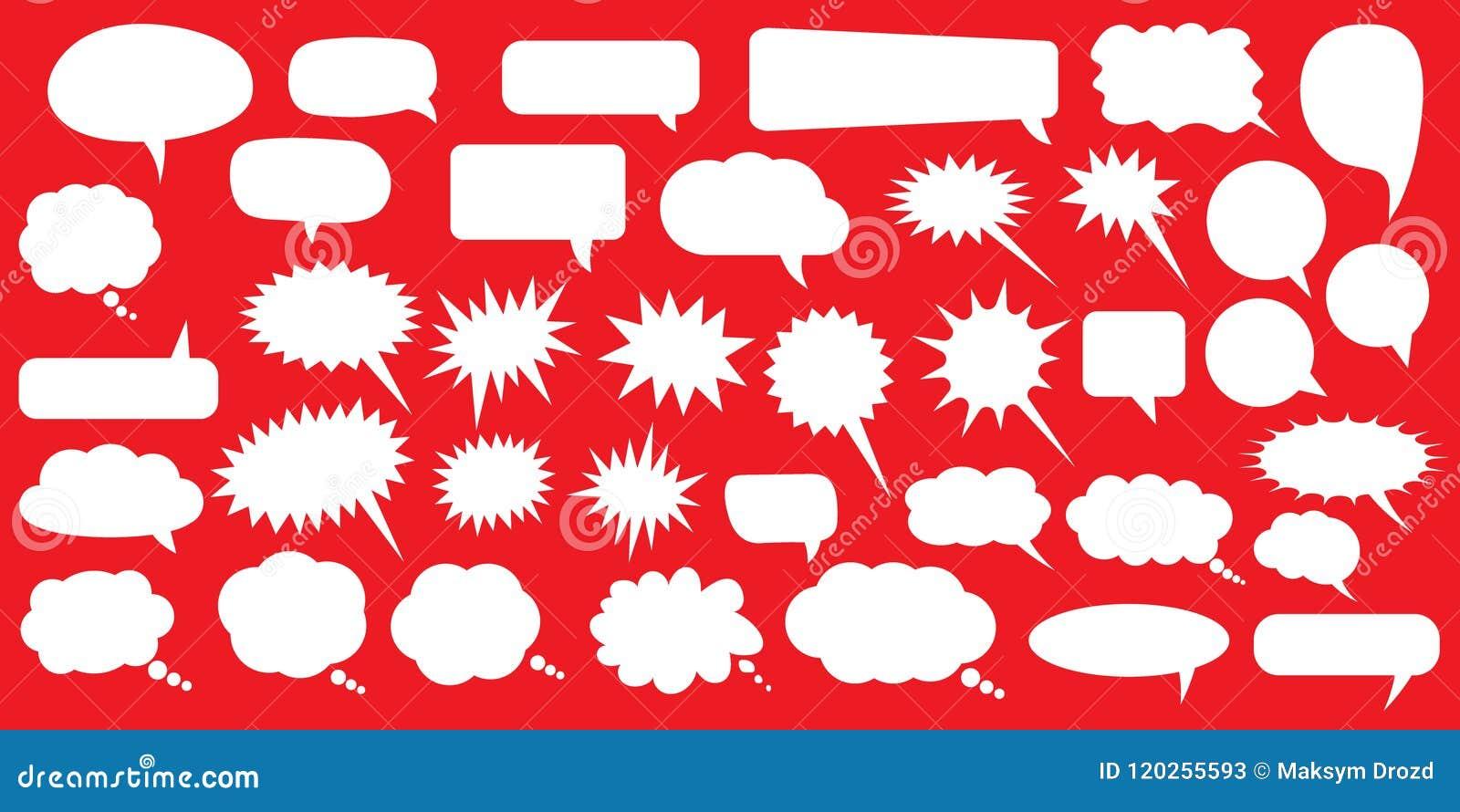 Anförande för jpeg för tillgängliga format för bubblor eps8 set Tomma tomma vita anförandebubblor Design för tecknad filmballongo