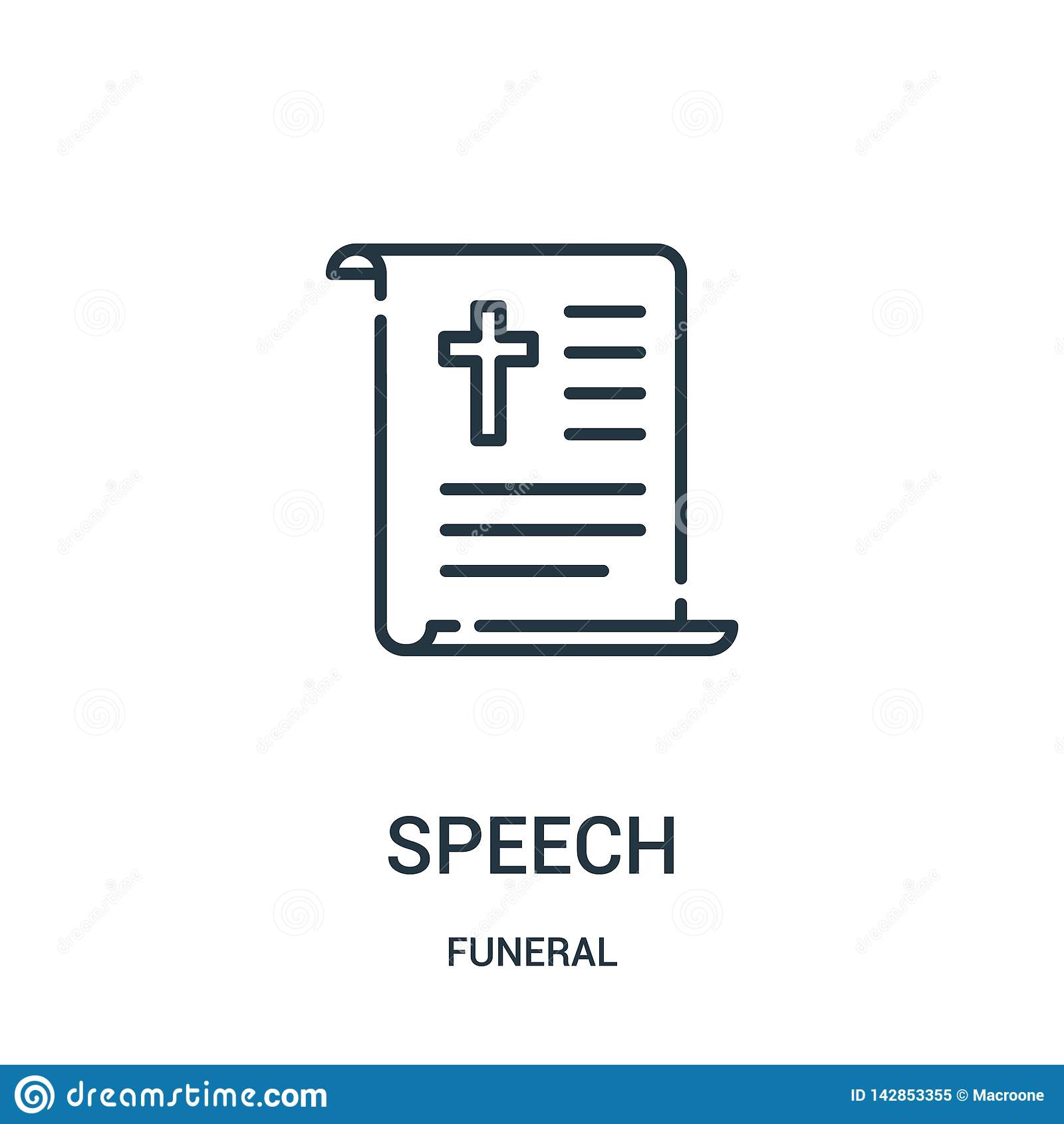 Anförandesymbolsvektor från begravnings- samling Tunn linje illustration för vektor för anförandeöversiktssymbol Linjärt symbol f