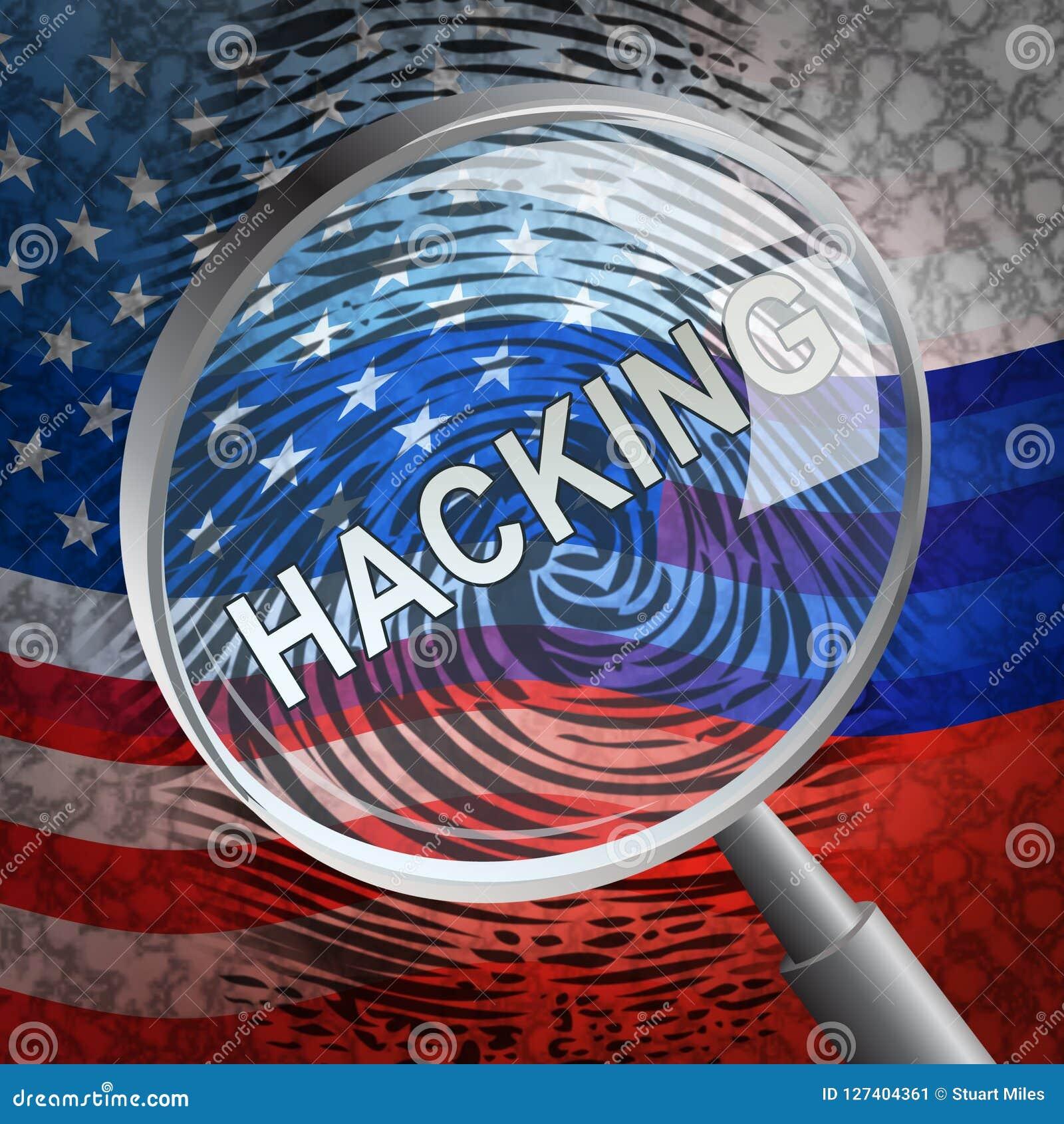Anfaller ryskt spionage för valdataintrång den 2d illustrationen