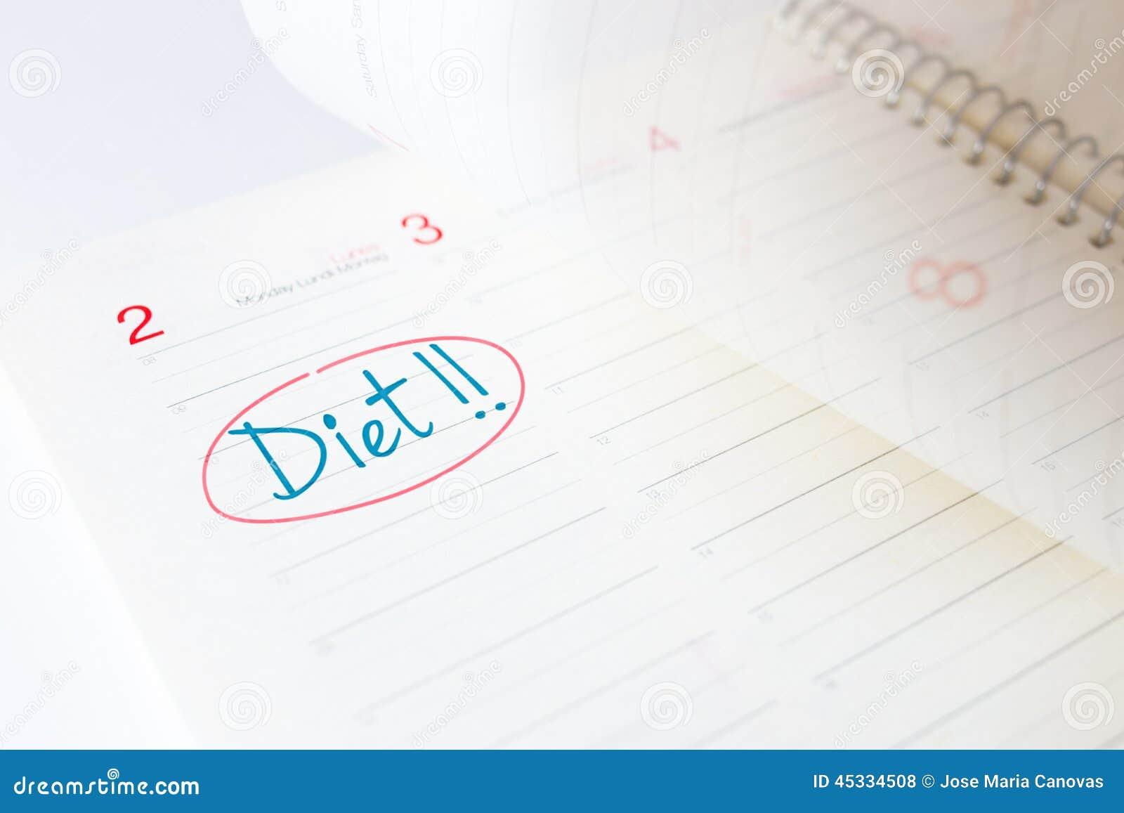 Anfang Der Diat In Einem Tagebuch Stockfoto Bild Von Leben