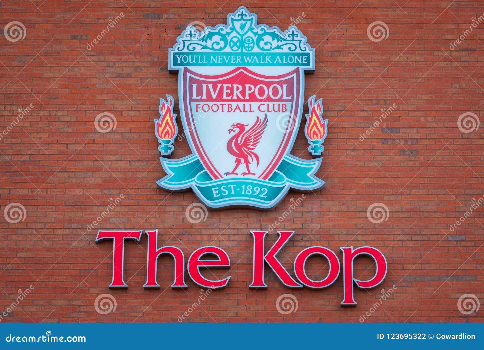 Anfield-Stadion, die Heimspielstätte des Liverpool-Fußballvereins in Großbritannien