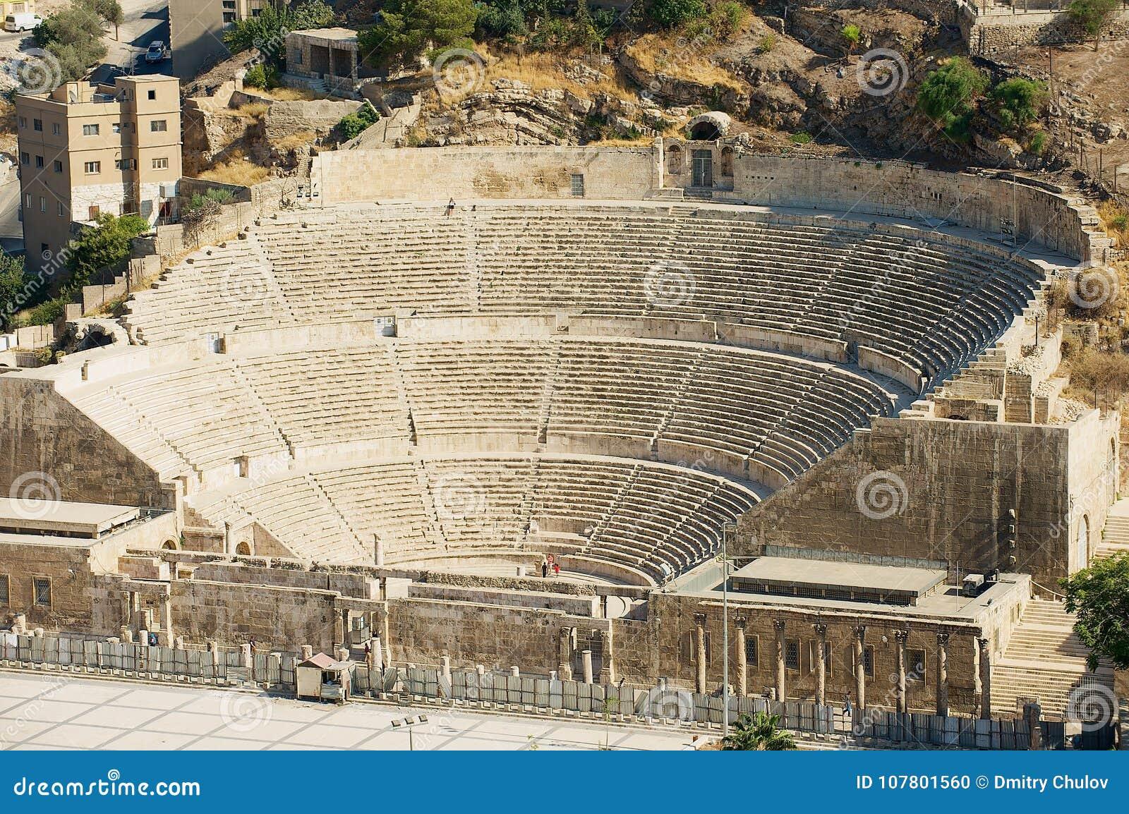 Anfiteatro romano antigo em Amman, Jordânia