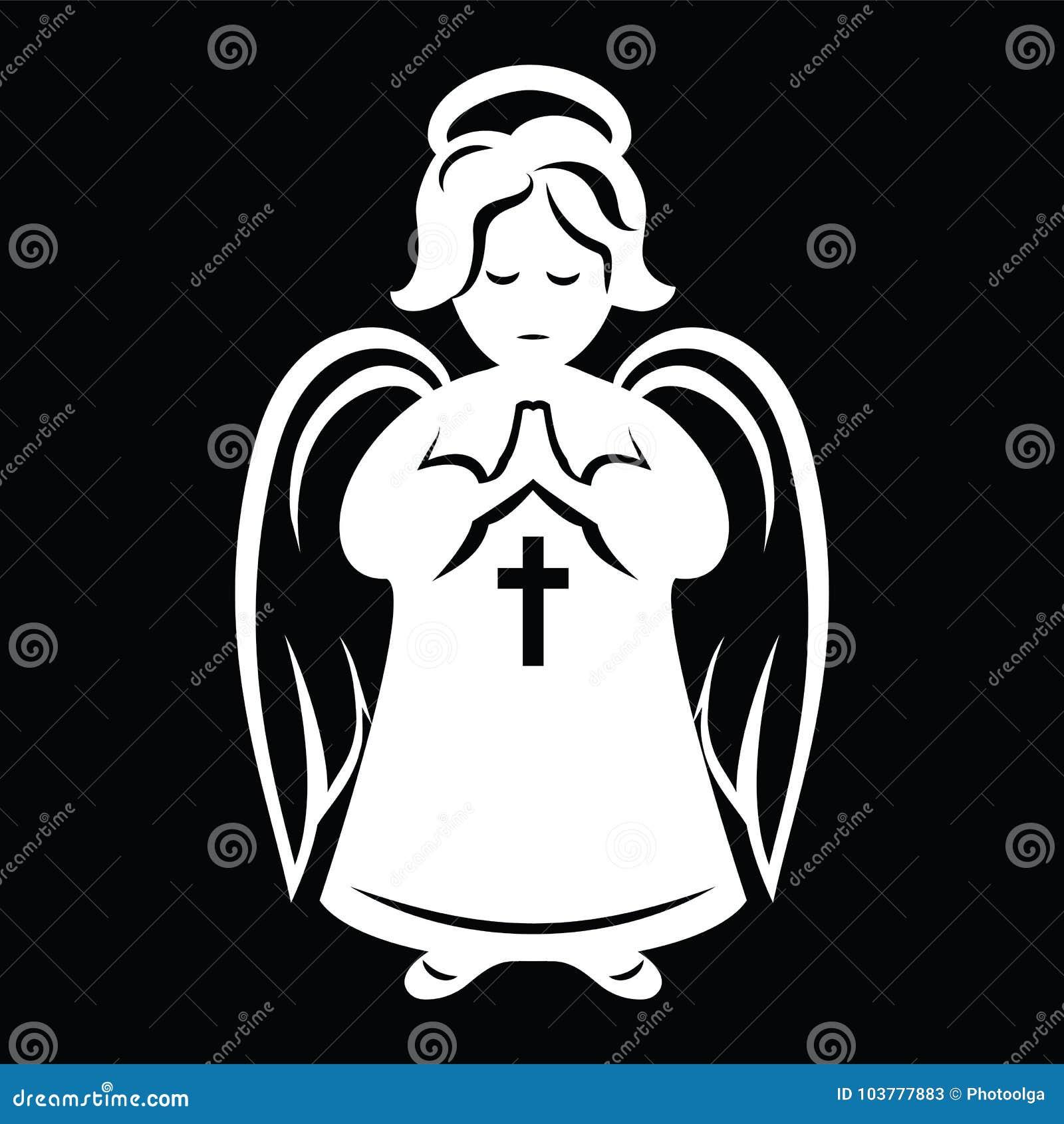 Ange de pri re blanc sur le fond noir dessin simple - Dessin fond noir ...